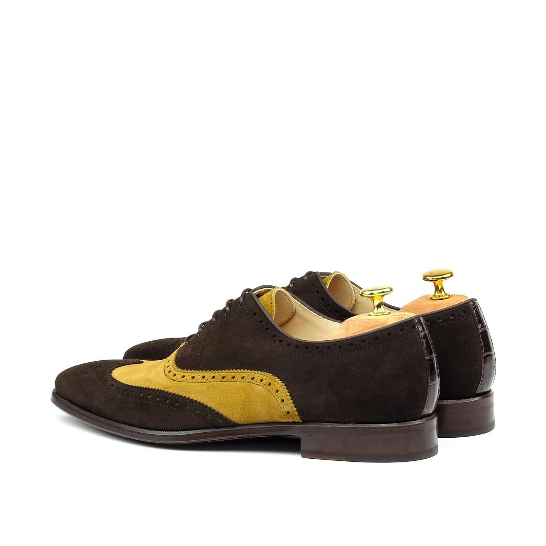 MANOR OF LONDON 'The Marylebone' Brown & Mustard Suede Brogue Luxury Custom Initials Monogrammed Back Side View