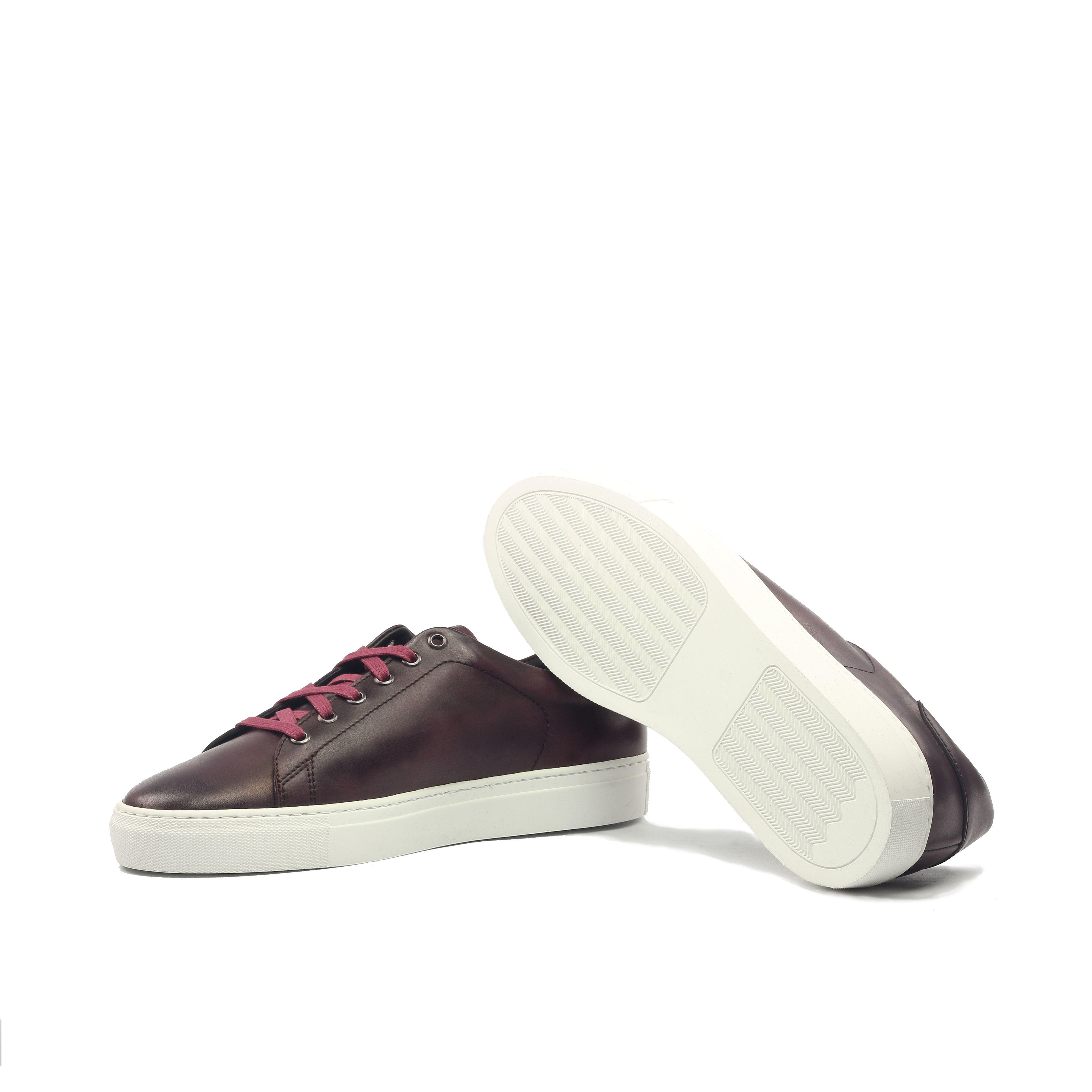 MANOR OF LONDON 'The Perry' Painted Oxblood Calfskin Tennis Trainer Luxury Custom Initials Monogrammed Bottom Side View