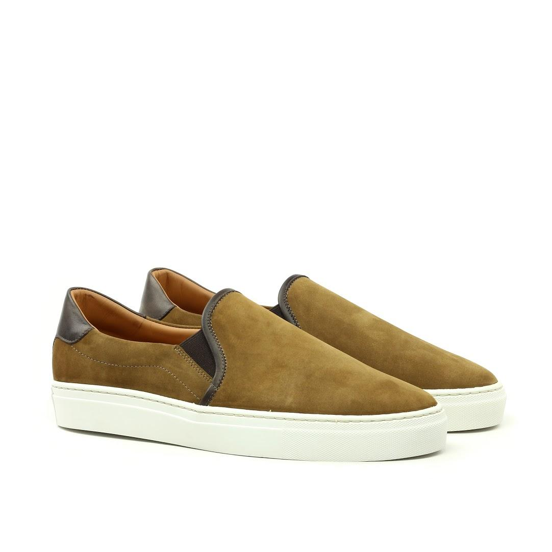 MANOR OF LONDON 'The Skater' Brown Calfskin & Suede Slip On Trainer Luxury Custom Initials Monogrammed Front Side View