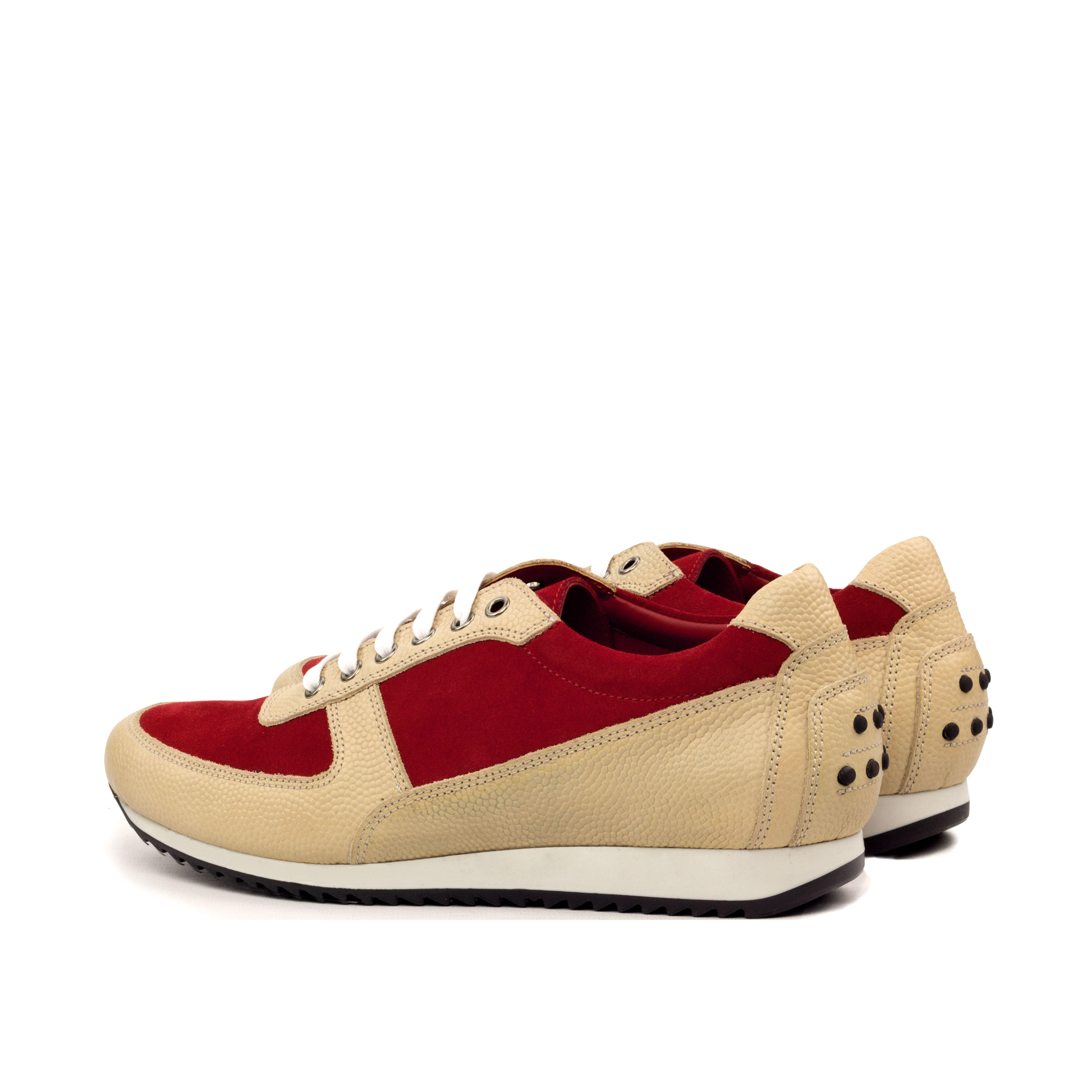 MANOR OF LONDON 'The Runner' Fawn Pebble Grain & Red Suede Trainer Luxury Custom Initials Monogrammed Back Side View