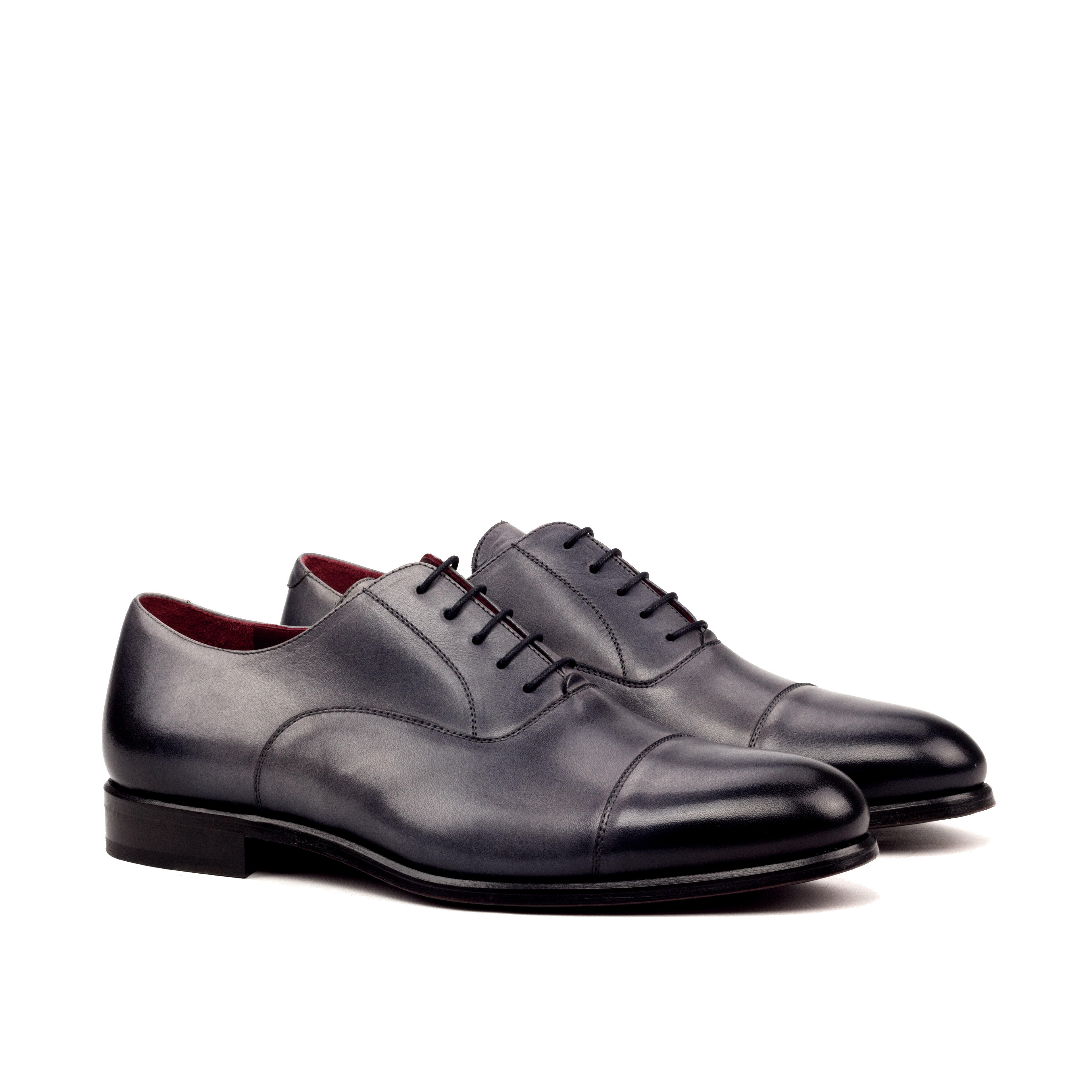 MANOR OF LONDON ''The Oxford' Burnished Grey Painted Calfskin Shoe Luxury Custom Initials Monogrammed Front Side View