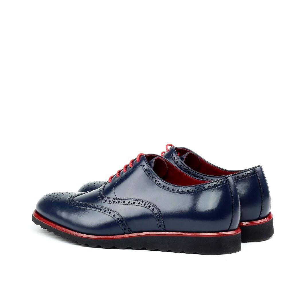 MANOR OF LONDON 'The Marylebone' Blue Calfskin Sportwedge Brogue Luxury Custom Initials Monogrammed Back Side View
