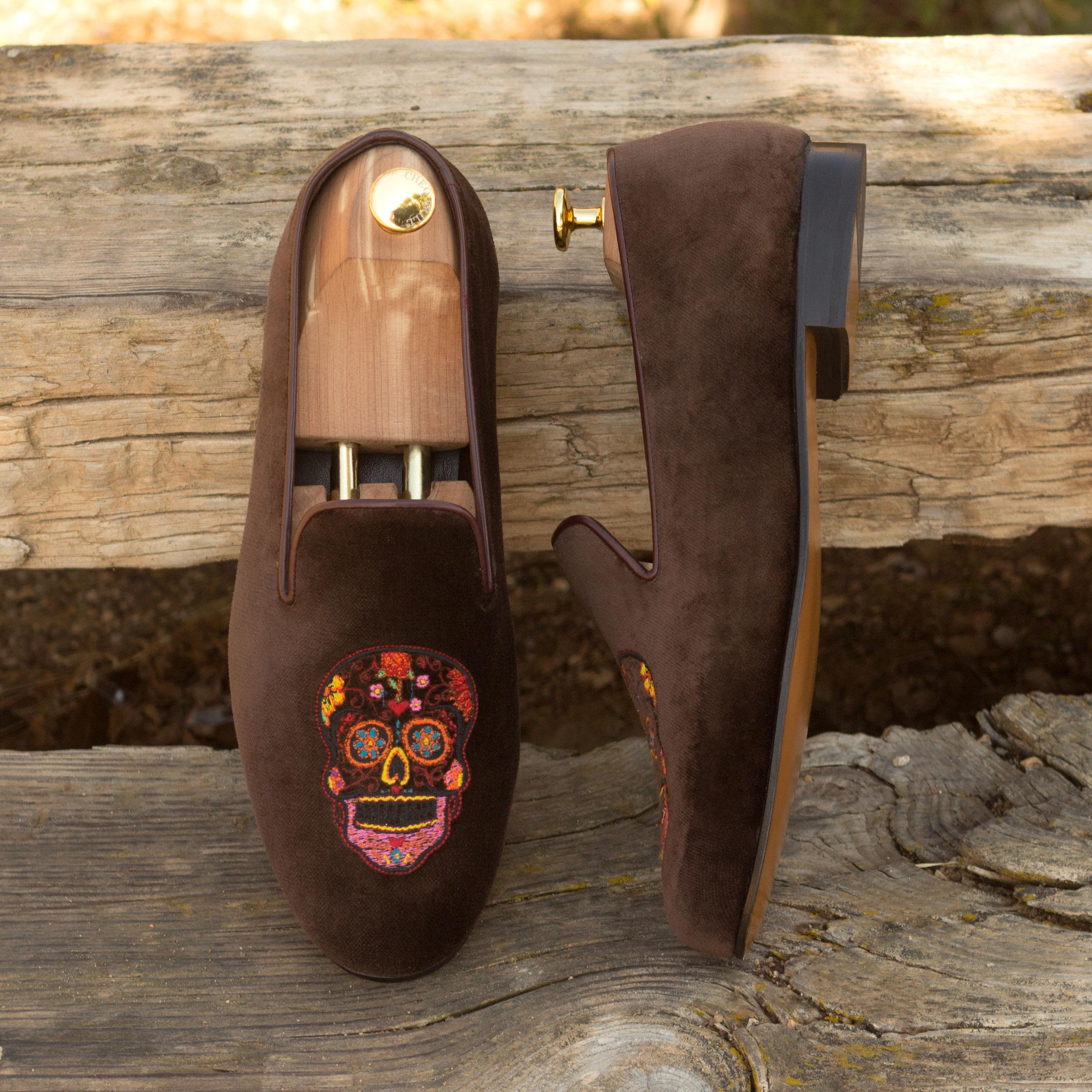 'Día de los Muertos' Brown Velvet Luxury Mens Custom Initial Monogram Slippers Top Side View