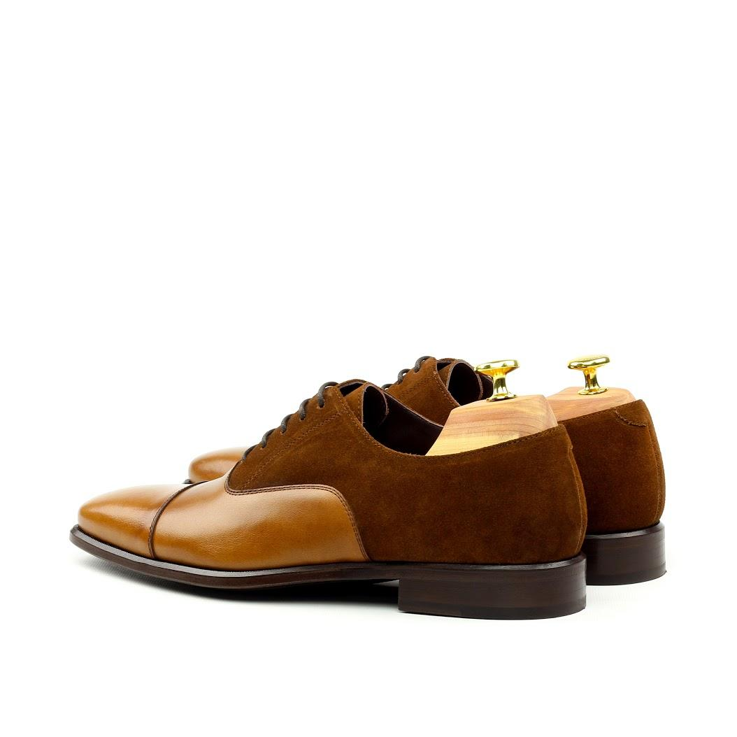 MANOR OF LONDON 'The Oxford' Cognac Suede & Calfskin Shoe Luxury Custom Initials Monogrammed Back Side View