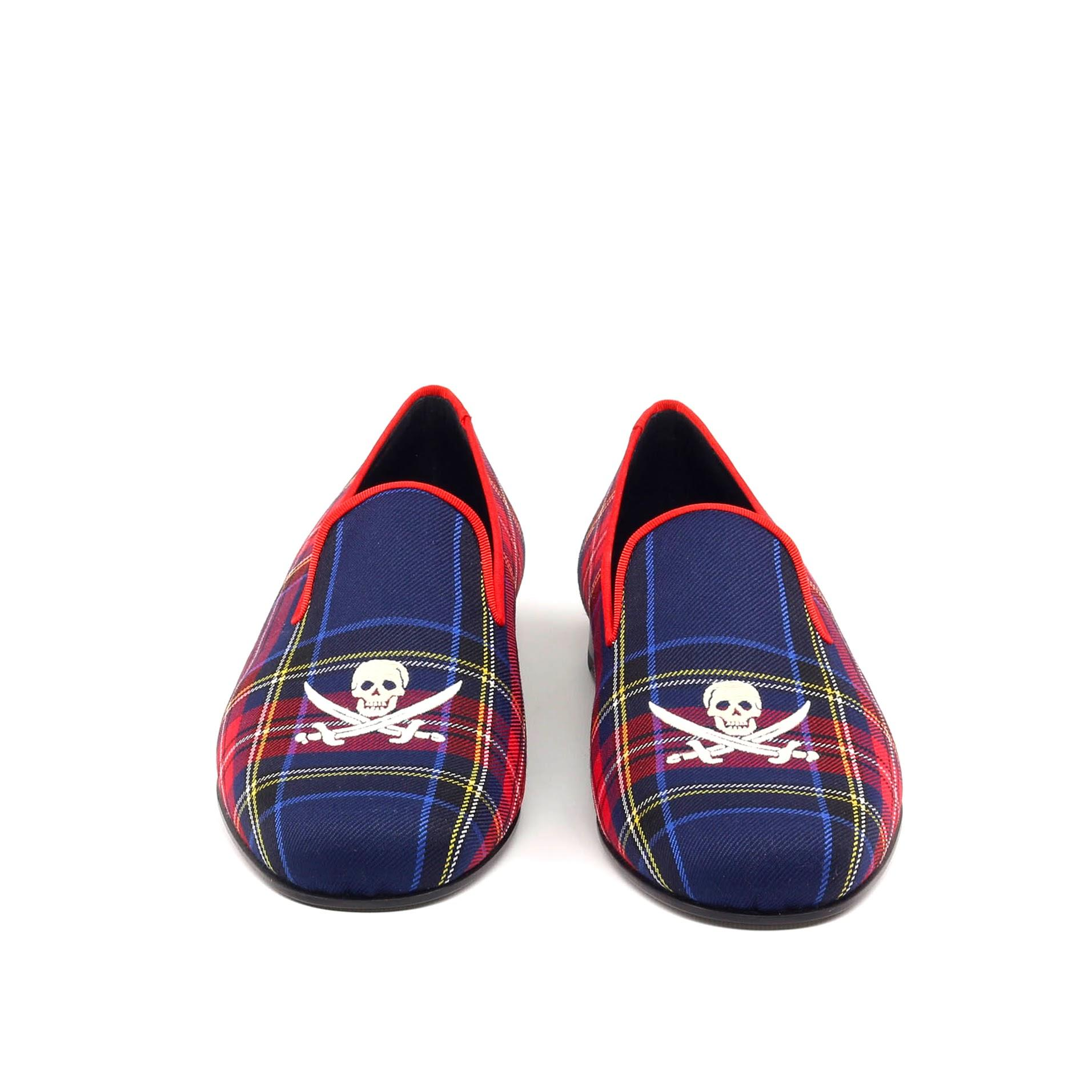 Manor of London 'Jolly Roger' Navy Mens Tartan Leather Luxury Slip On Slippers Front Top View