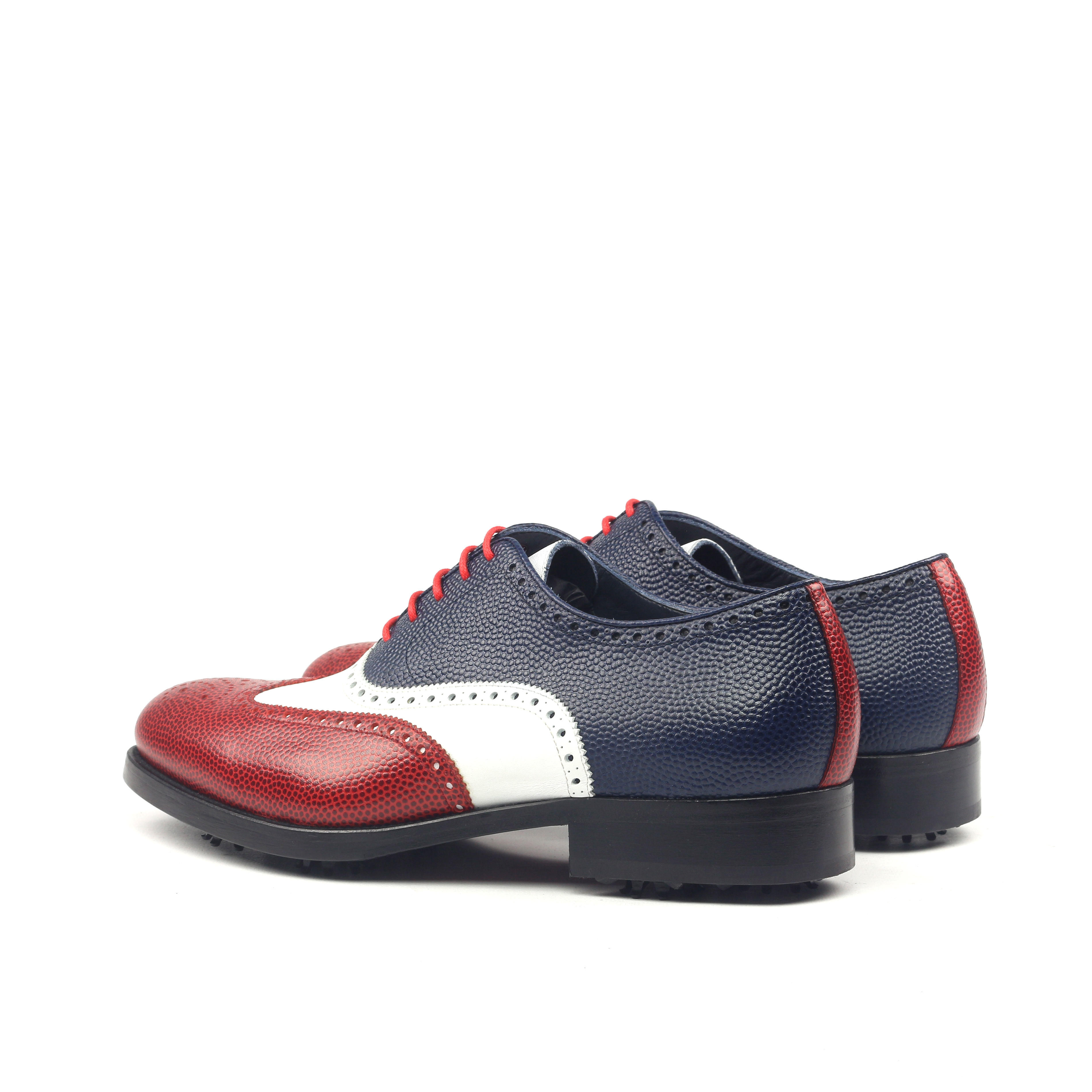 MANOR OF LONDON 'The Marylebone' Tri-Colour Pebble Grain Golfing Brogue Luxury Custom Initials Monogrammed Back Side View