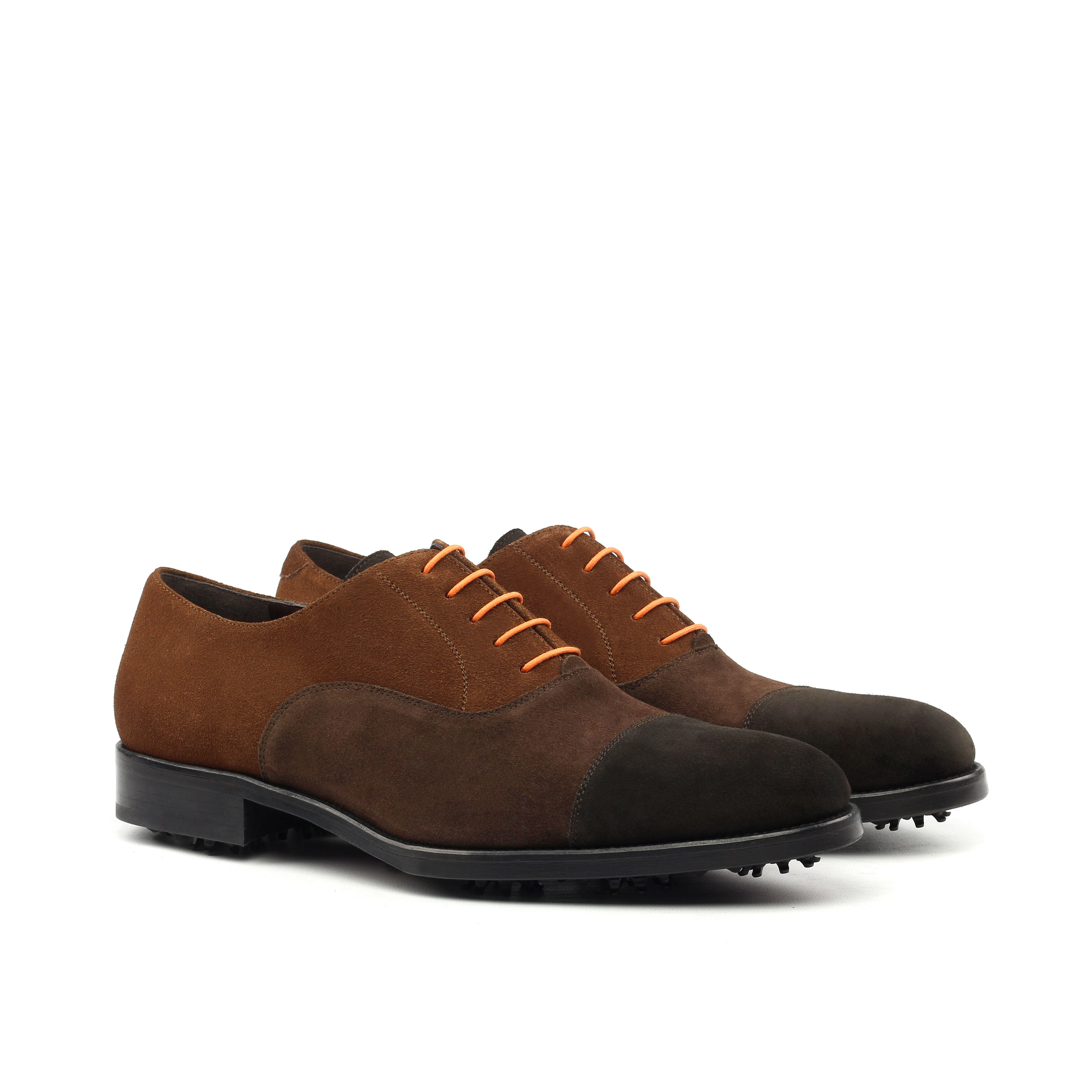 MANOR OF LONDON 'The Oxford' Three Tone Brown Suede Golfing Shoe Luxury Custom Initials Monogrammed Front Side View