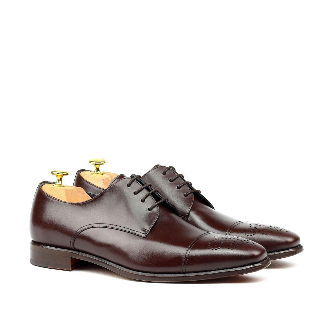 Manor of London 'The Derby'  Brown Punched Toe Shoe Luxury Custom Initials Monogrammed Front Side View