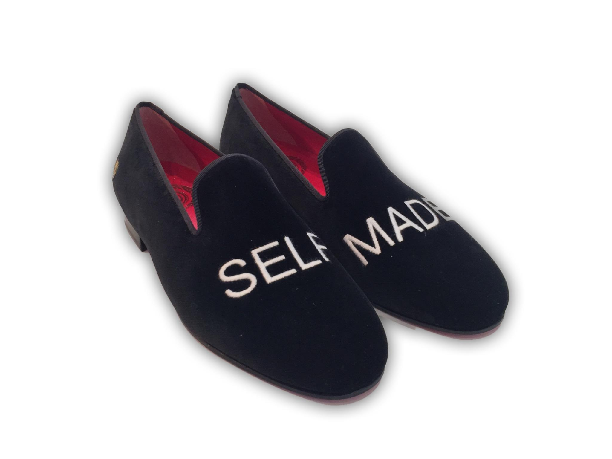 Manor of London SELF MADE Mens Black Velvet Leather Slip On Embroidery Luxury Custom Initials Slip On Front View