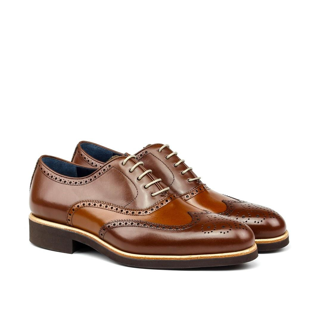 MANOR OF LONDON 'The Marylebone' Cognac Calfskin Brogue w/ Rubber Sole Luxury Custom Initials Monogrammed Front Side View