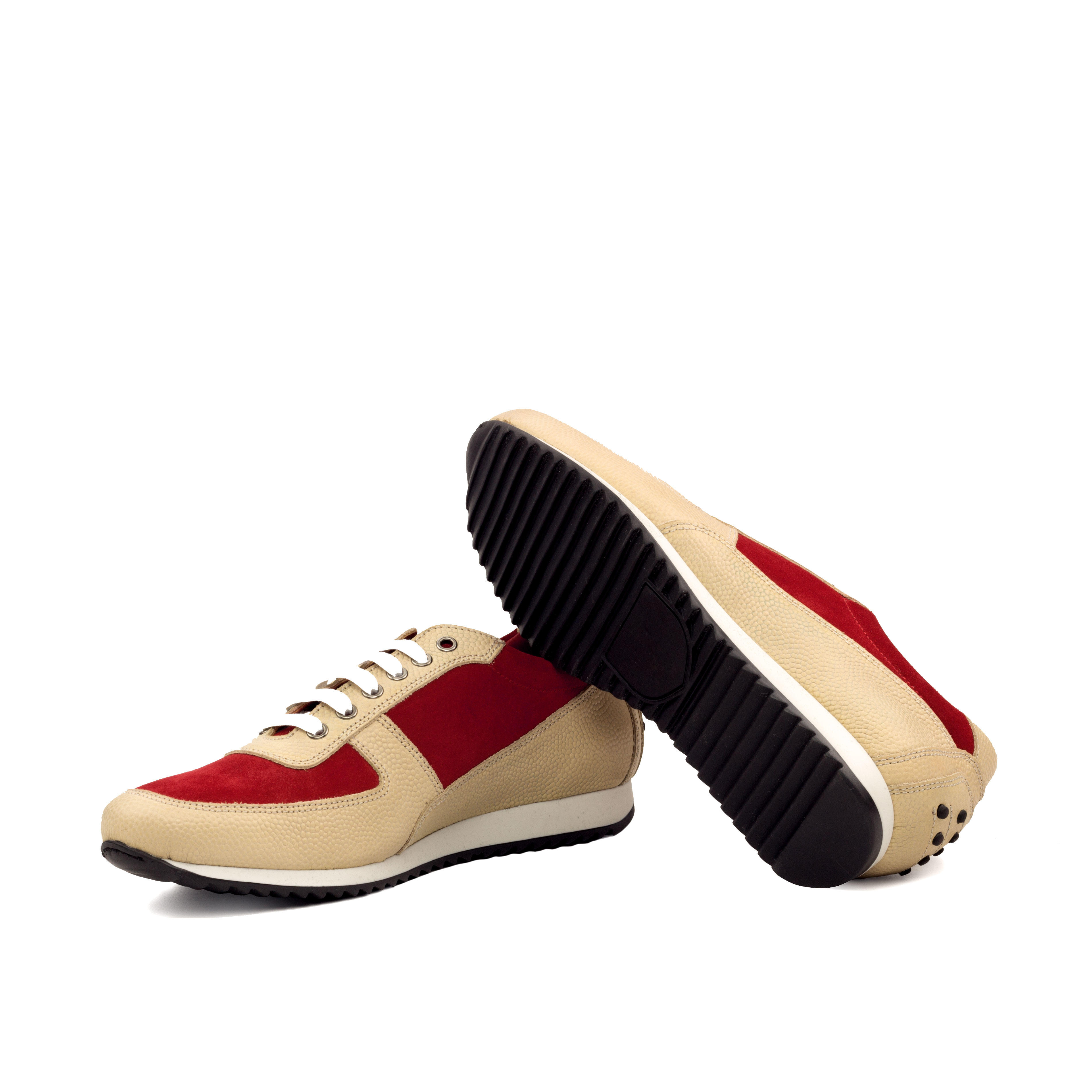 MANOR OF LONDON 'The Runner' Fawn Pebble Grain & Red Suede Trainer Luxury Custom Initials Monogrammed Bottom Side View