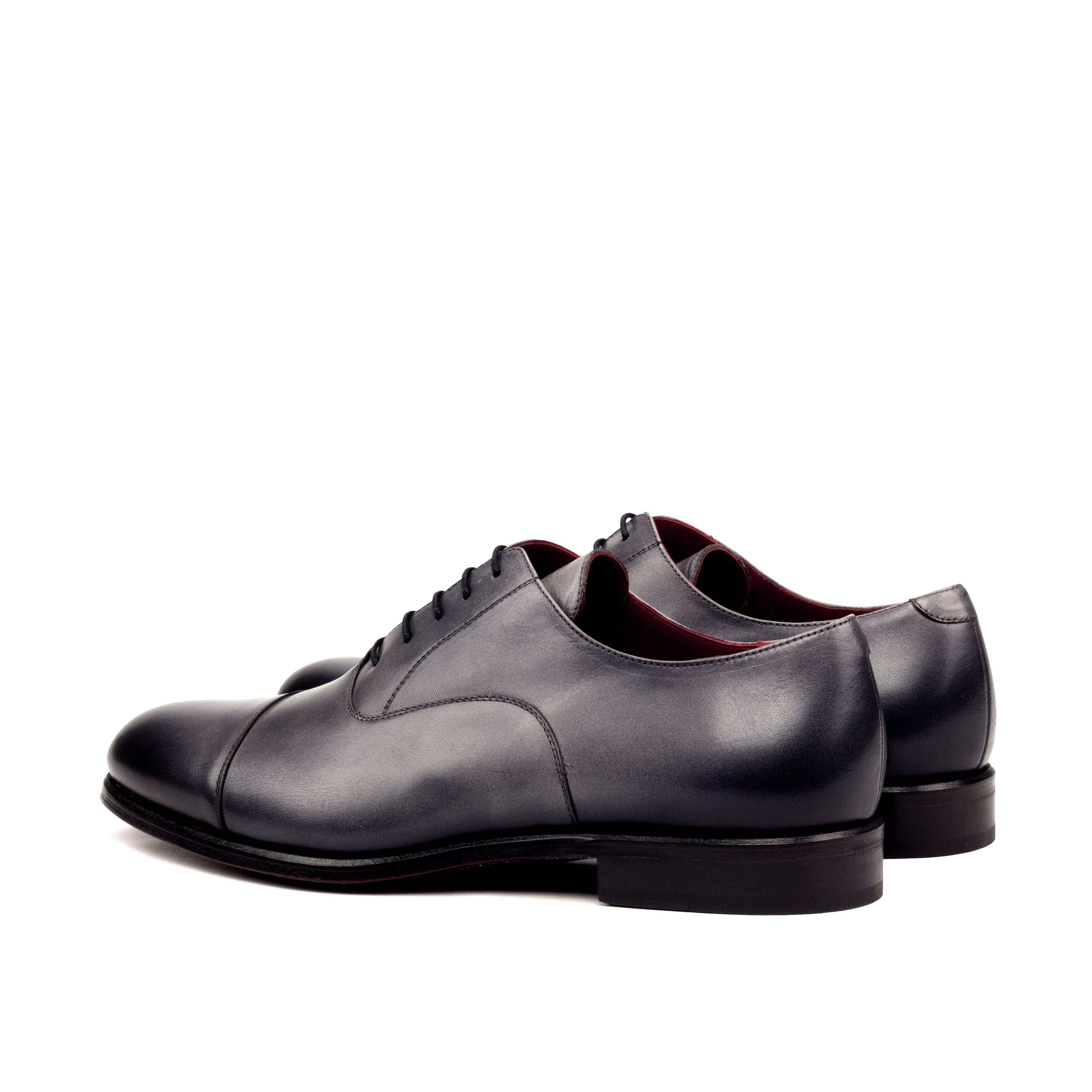 MANOR OF LONDON ''The Oxford' Burnished Grey Painted Calfskin Shoe Luxury Custom Initials Monogrammed Back Side View