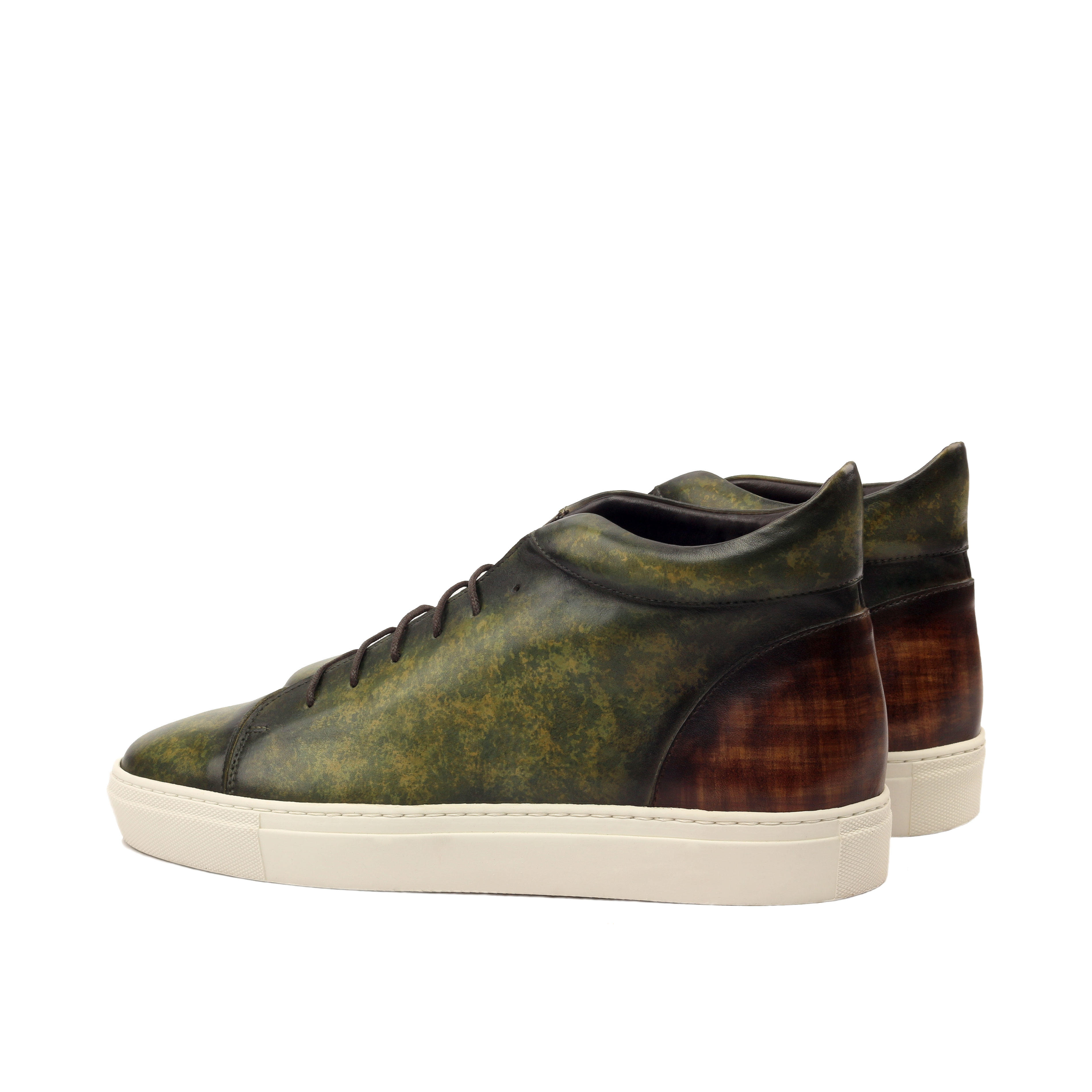 Manor of London 'The Joshua' Brown & Khaki Patina Calfskin High-Top Trainer Luxury Custom Initials Monogrammed Back Side View