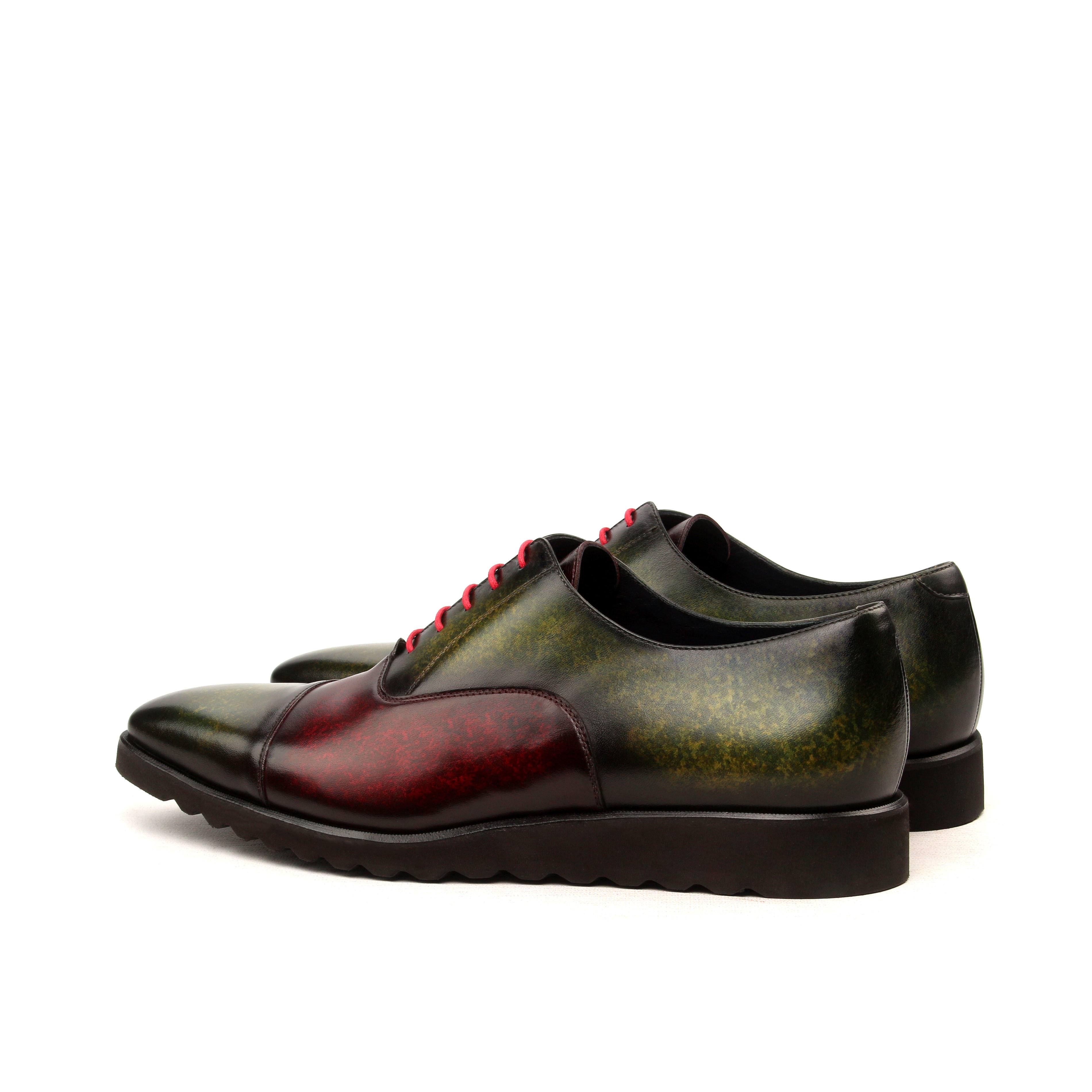MANOR OF LONDON 'The Oxford' Burgundy & Khaki Patina Calfskin Shoe Luxury Custom Initials Monogrammed Back Side View
