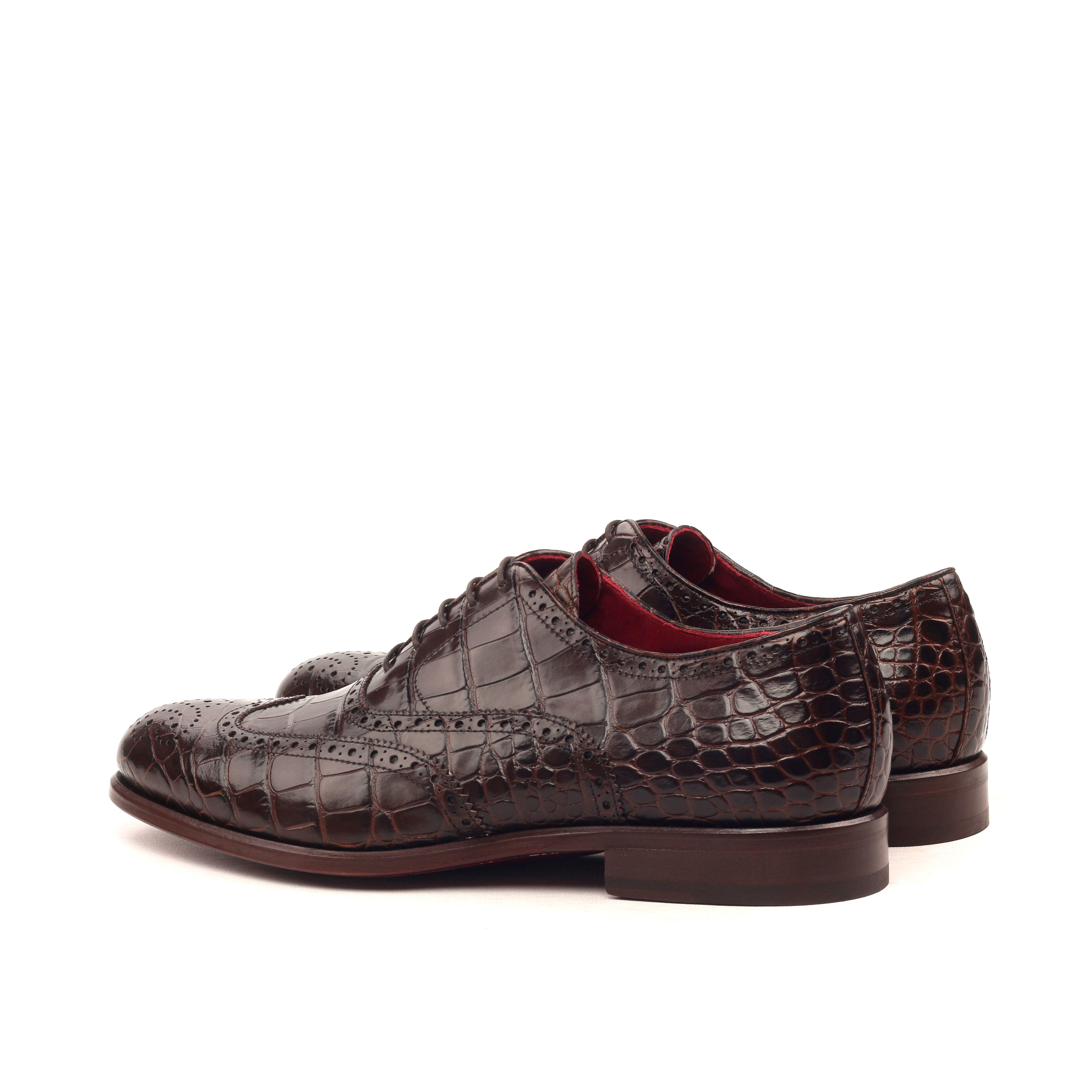 MANOR OF LONDON 'The Marylebone' Brown Croco Brogue Luxury Custom Initials Monogrammed Back Side View