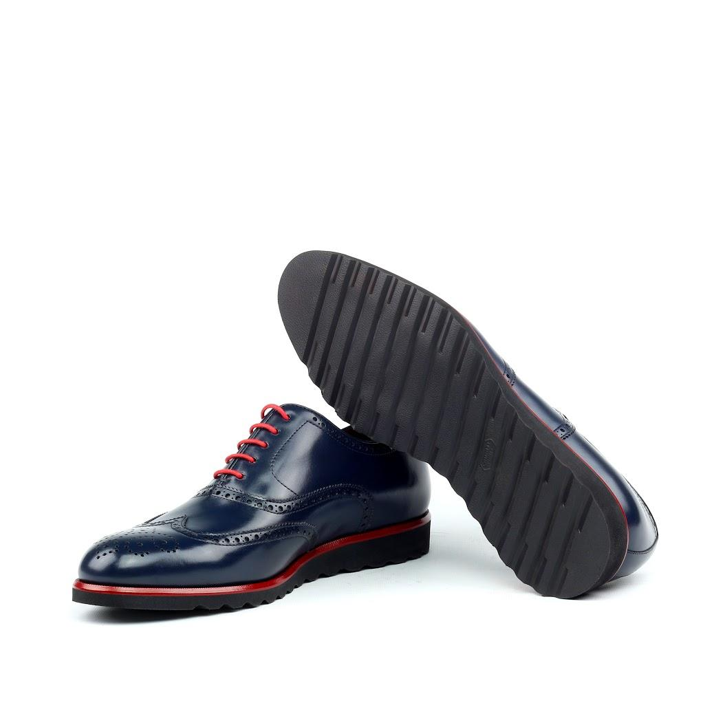 MANOR OF LONDON 'The Marylebone' Blue Calfskin Sportwedge Brogue Luxury Custom Initials Monogrammed Bottom Side View