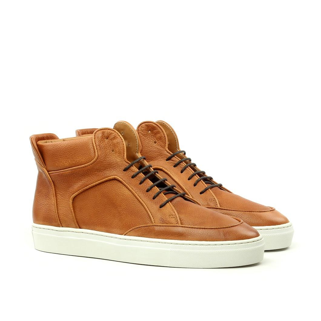 Manor of London 'The Hamilton' Cognac Full Grain Leather High-Top Trainer Luxury Custom Initials Monogrammed Front Side View