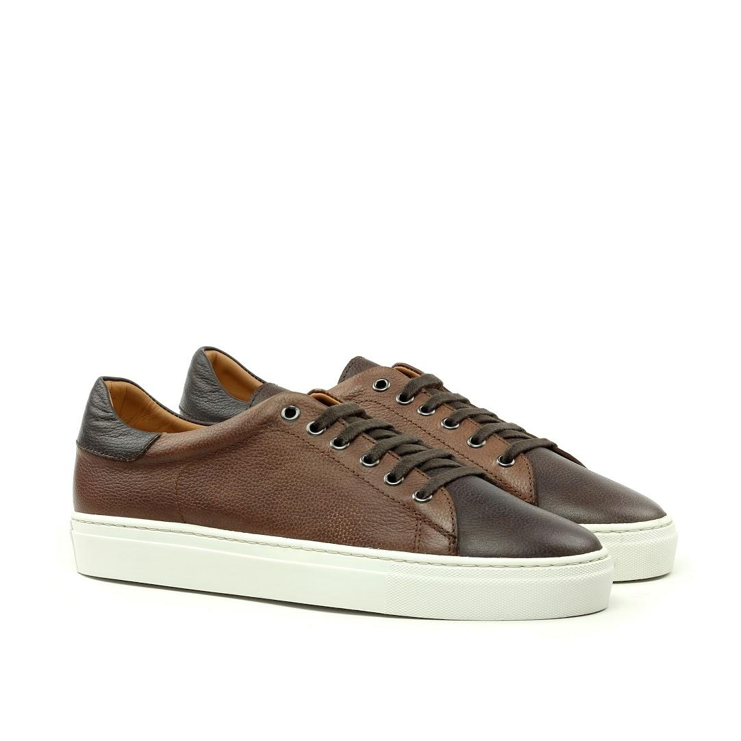 MANOR OF LONDON'The Perry' Mixed Brown Full Grain Tennis Trainer Luxury Custom Initials Monogrammed Front Side View