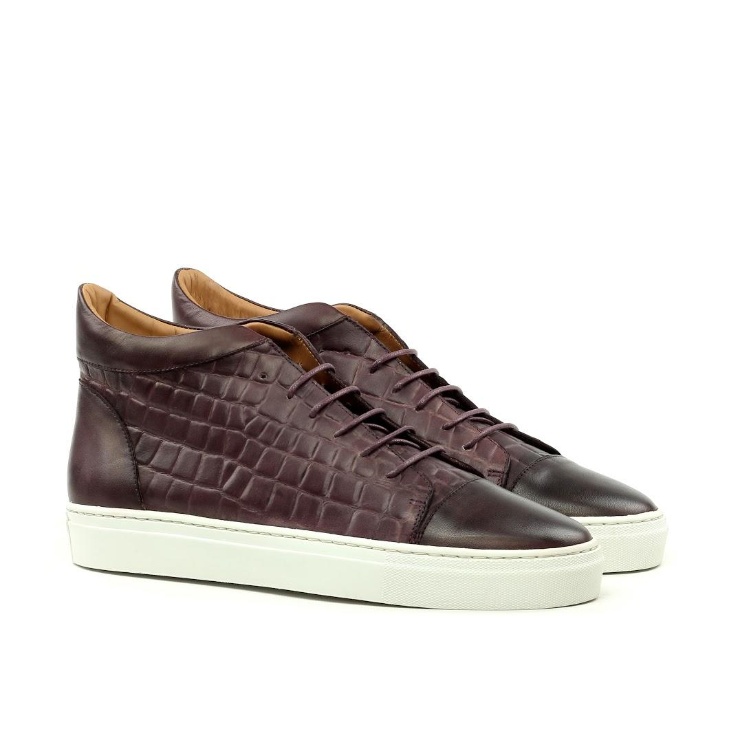 Manor of London ''The Joshua' Burgundy Croco Calfskin High-Top Trainer Luxury Custom Initials Monogrammed Front Side View