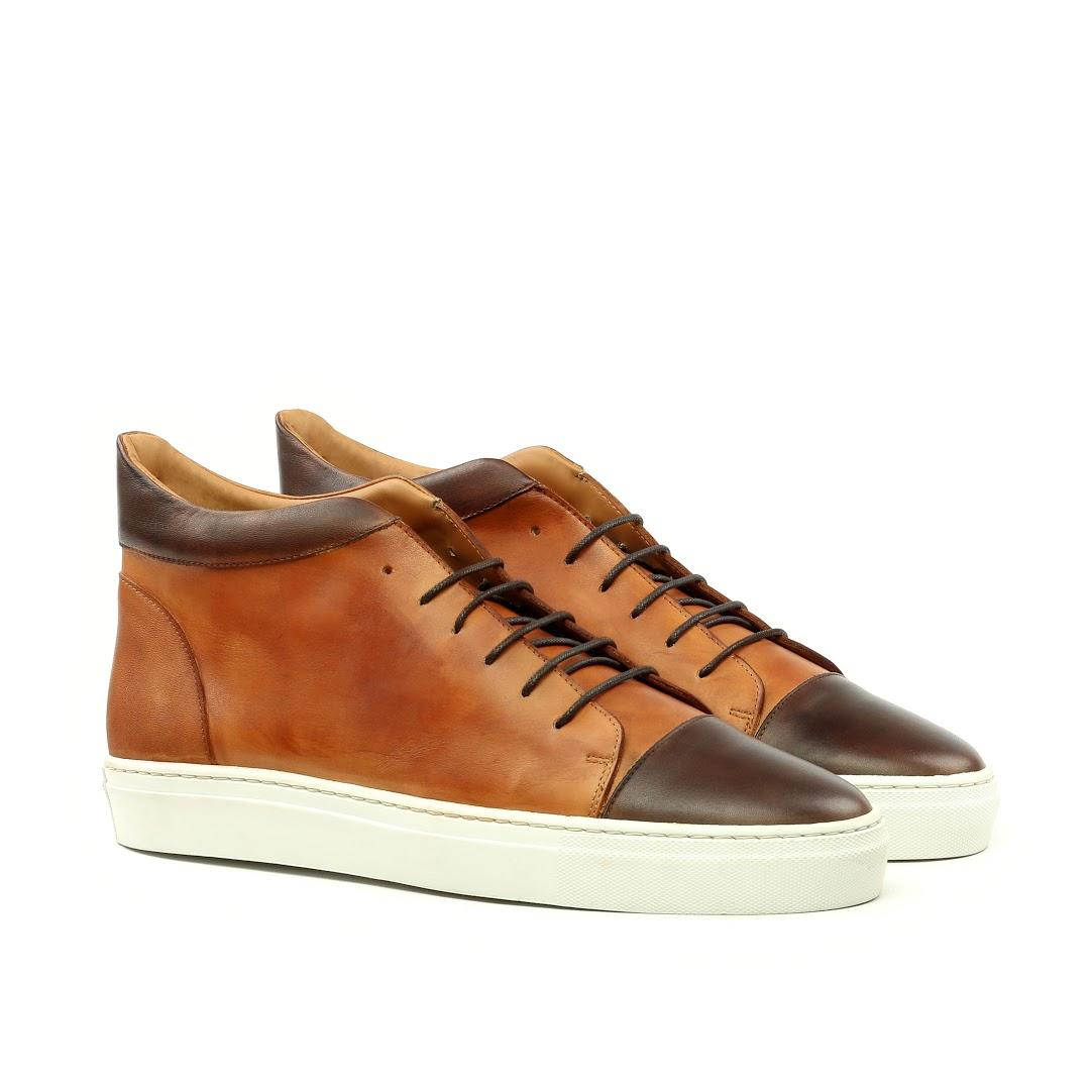 Manor of London'The Joshua' Cognac & Brown Calfskin High-Top Trainer Luxury Custom Initials Monogrammed Front Side View