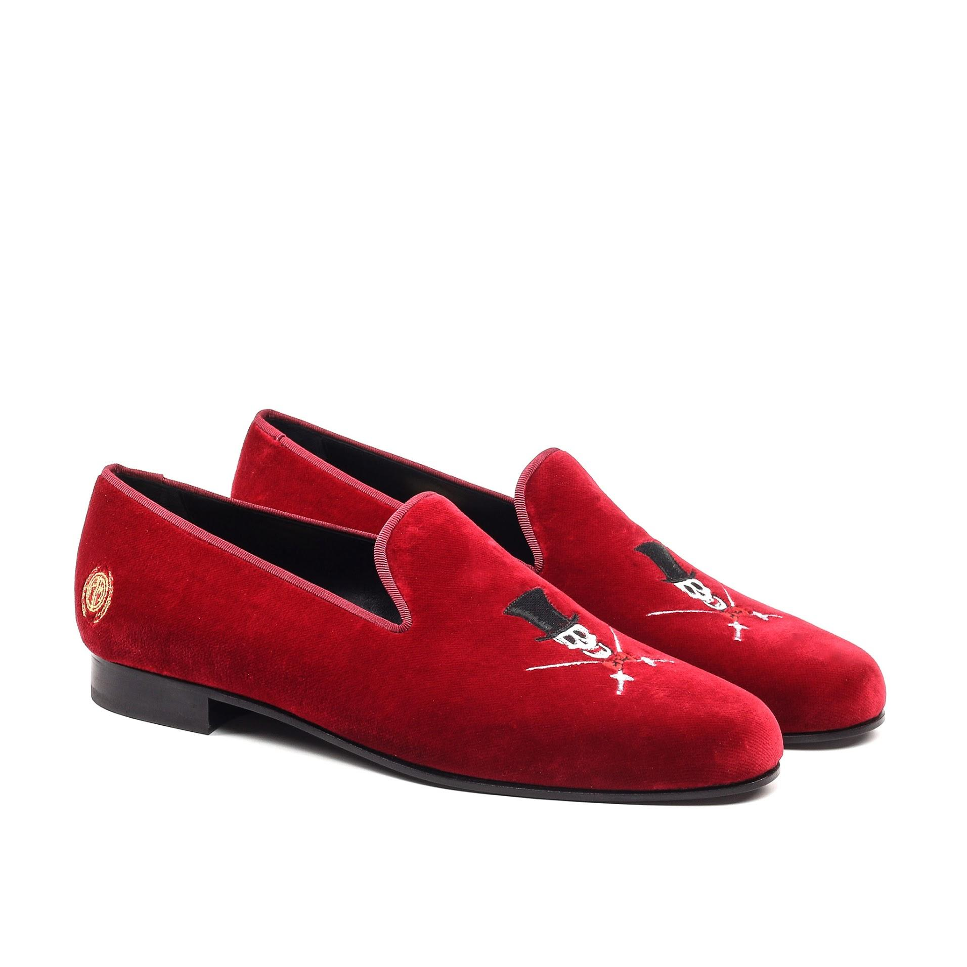 Manor of London 'The Duke of Death' Red Velvet Slippers Luxury Custom Initials Monogrammed Front Side View