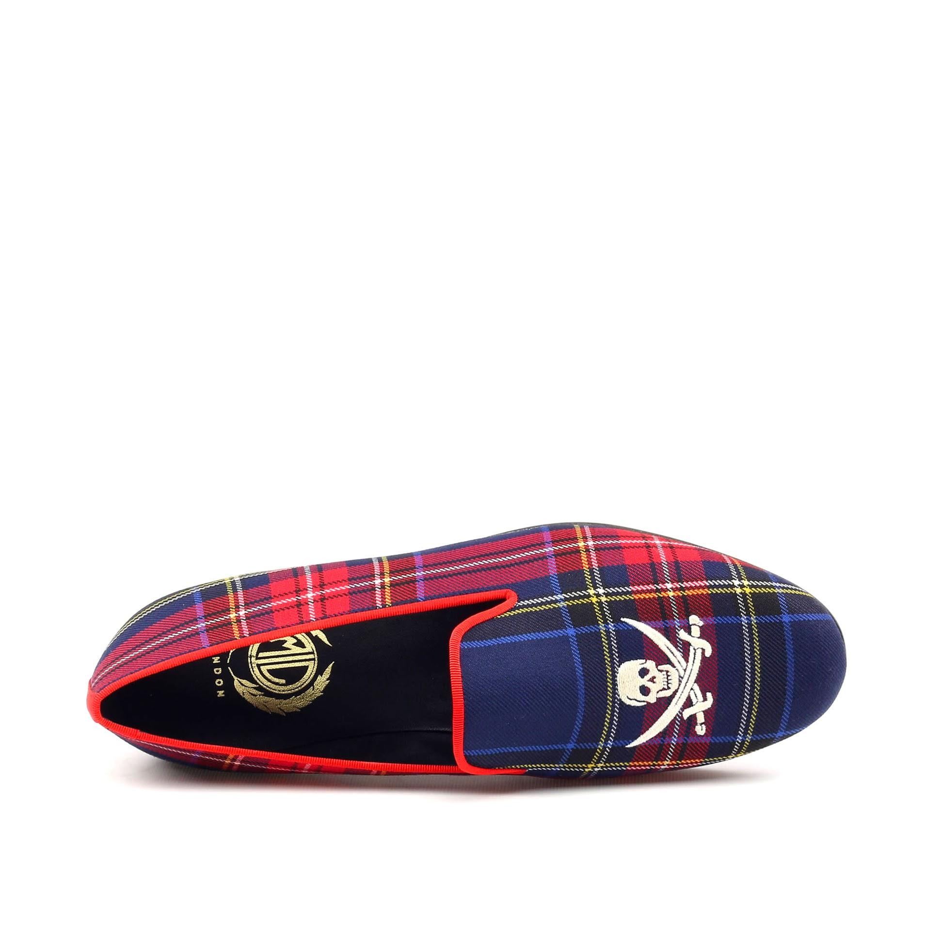 Manor of London 'Jolly Roger' Navy Mens Tartan Leather Luxury Slip On Slippers Top View