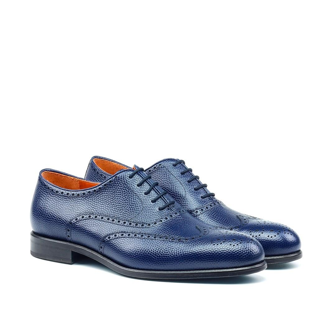 MANOR OF LONDON 'The Marylebone' Blue Pebble Grain Calfskin Brogue Luxury Custom Initials Monogrammed Front Side View