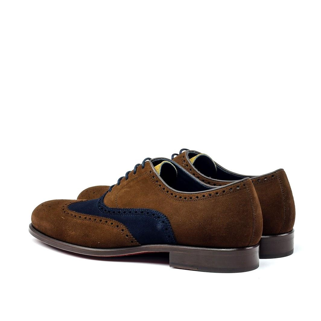 MANOR OF LONDON 'The Marylebone' Brown & Blue Suede Brogue Luxury Custom Initials Monogrammed Back Side View