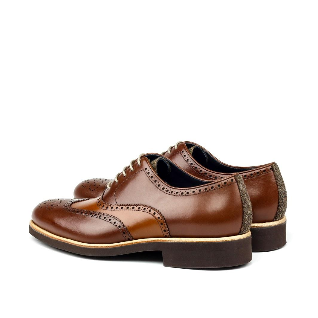 MANOR OF LONDON 'The Marylebone' Cognac Calfskin Brogue w/ Rubber Sole Luxury Custom Initials Monogrammed Back Side View