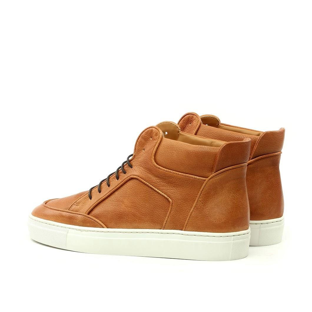 Manor of London 'The Hamilton' Cognac Full Grain Leather High-Top Trainer Luxury Custom Initials Monogrammed Back Side View