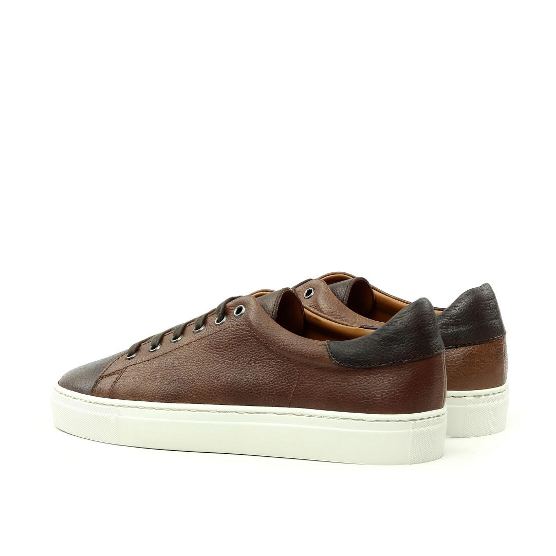 MANOR OF LONDON'The Perry' Mixed Brown Full Grain Tennis Trainer Luxury Custom Initials Monogrammed Back Side View