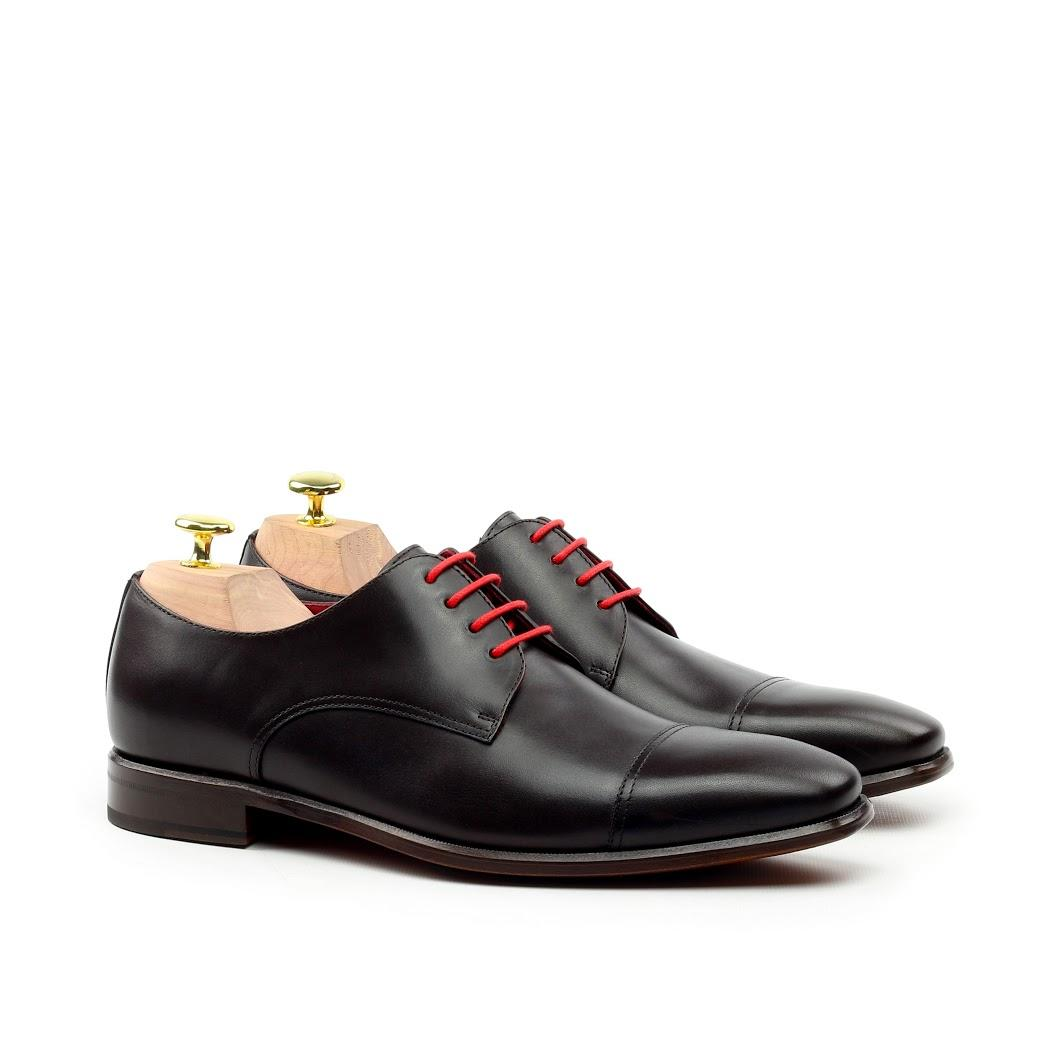 Manor of London 'The Derby' Black Calfskin Shoe Luxury Custom Initials Monogrammed Front Side View
