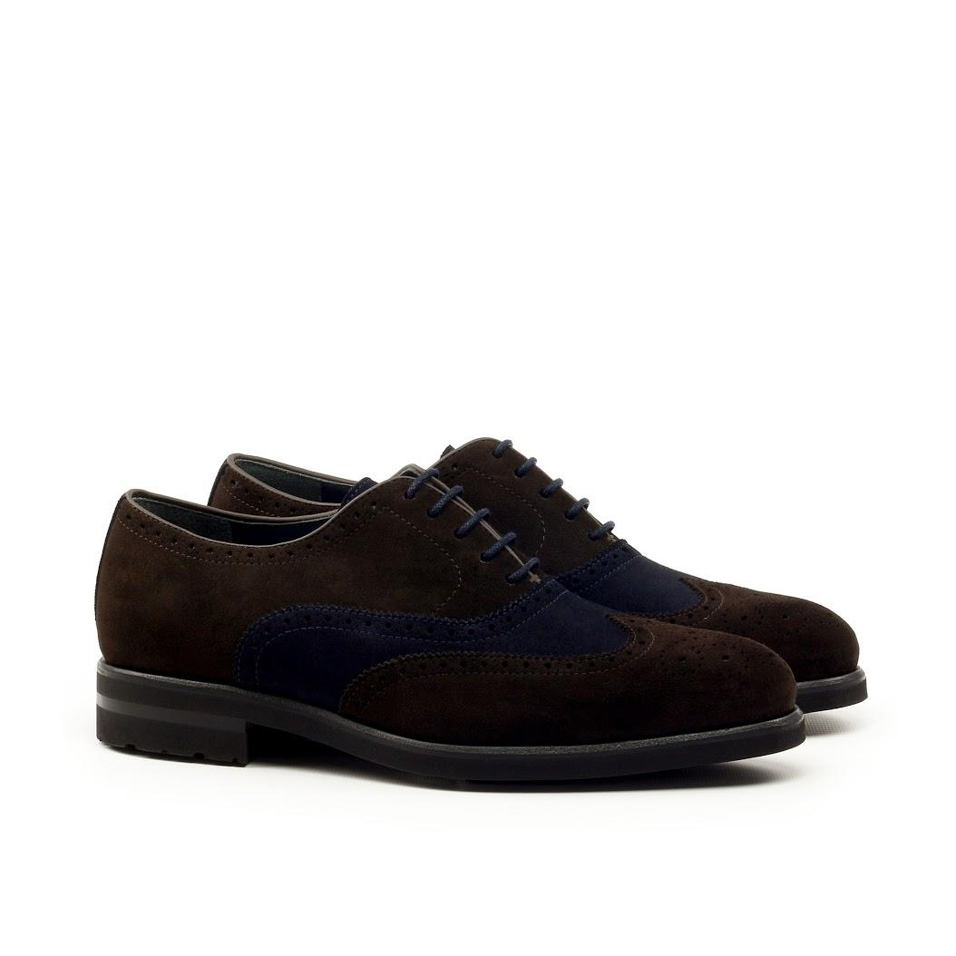 MANOR OF LONDON 'The Marylebone' Brown & Navy Suede Command Brogue Luxury Custom Initials Monogrammed Front Side View
