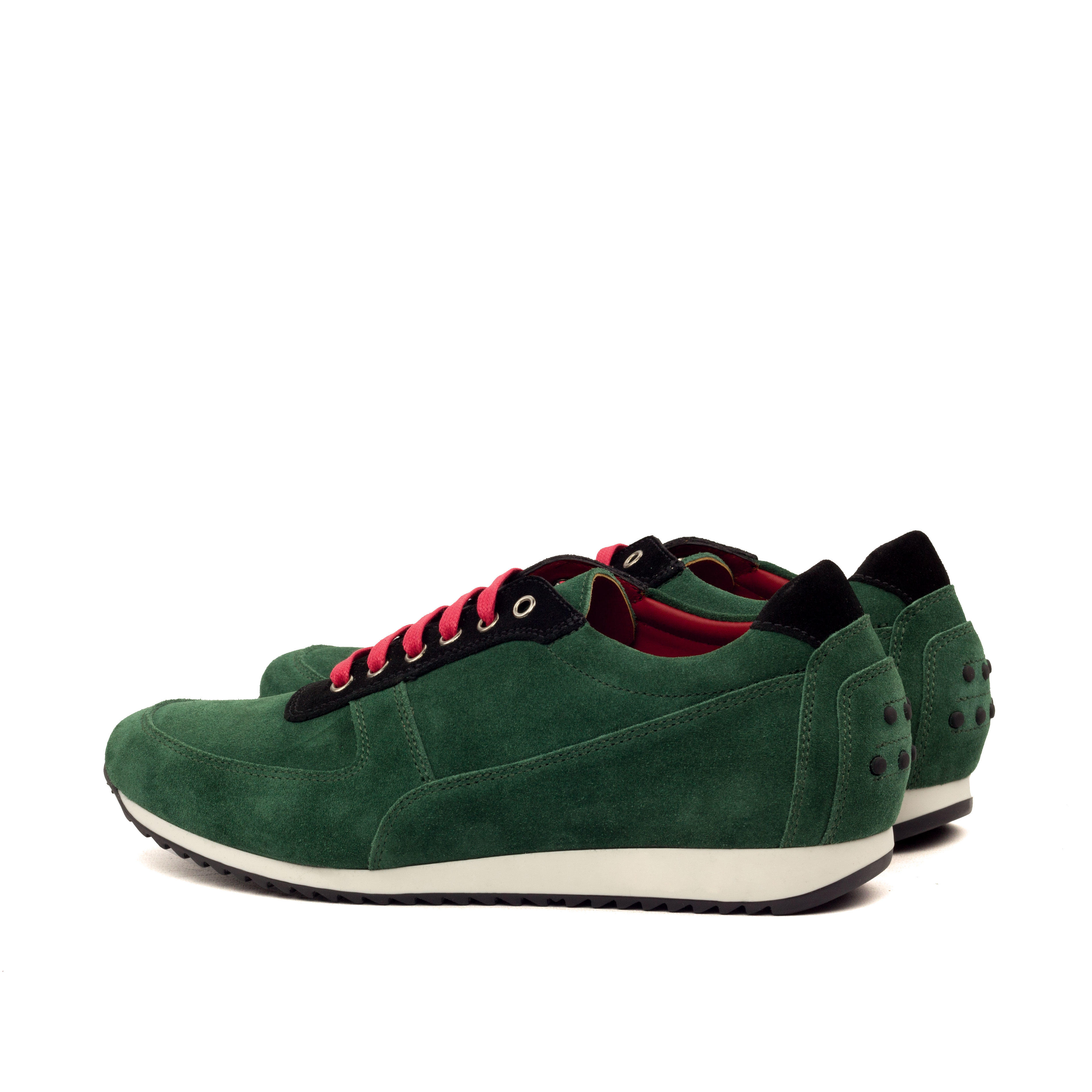 MANOR OF LONDON 'The Runner' Green & Black Suede Trainer Luxury Custom Initials Monogrammed Back Side View