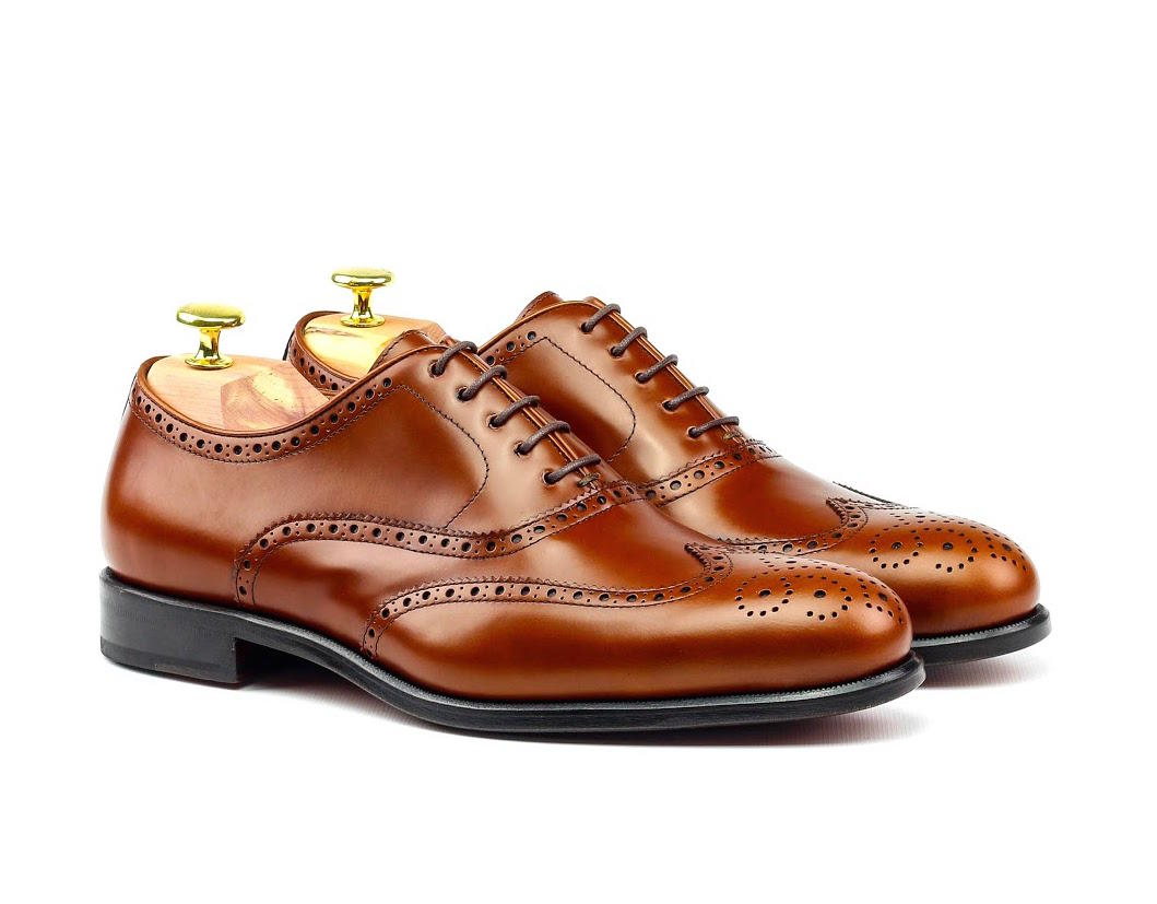 MANOR OF LONDON 'The Marylebone' Cognac Polished Calfskin Brogue w/ Rubber Sole Luxury Custom Initials Monogrammed Front Side View