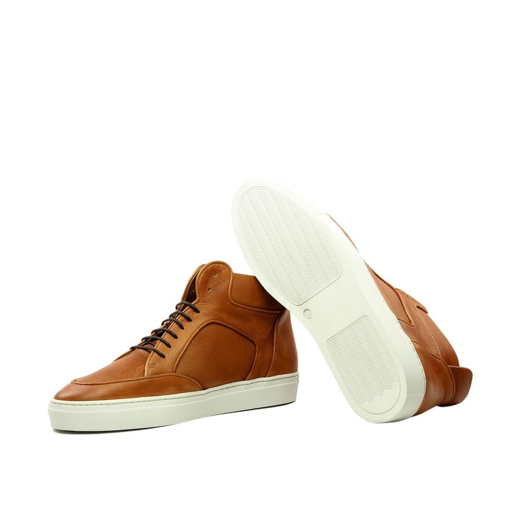 Manor of London 'The Hamilton' Cognac Full Grain Leather High-Top Trainer Luxury Custom Initials Monogrammed Top Side View