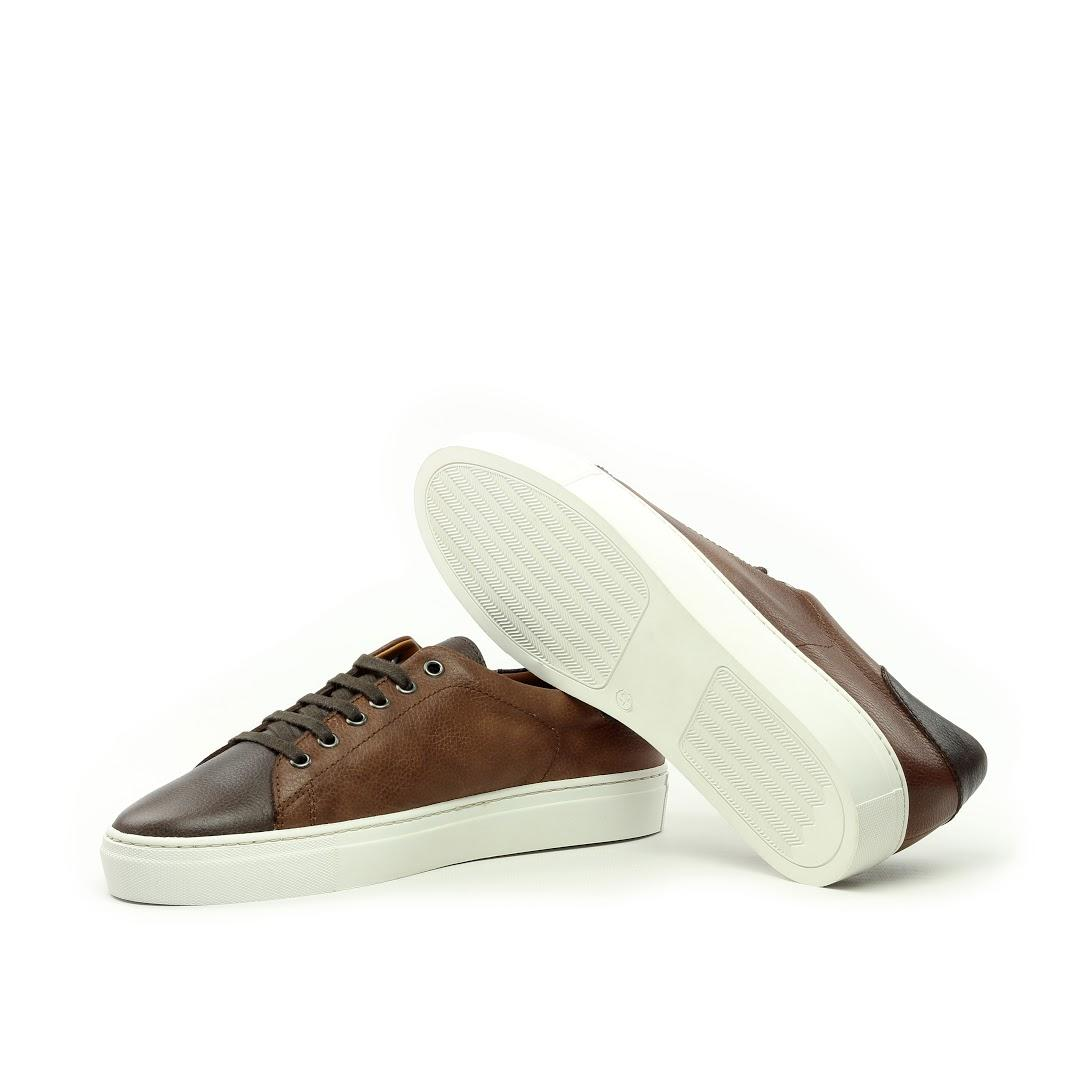 MANOR OF LONDON'The Perry' Mixed Brown Full Grain Tennis Trainer Luxury Custom Initials Monogrammed Bottom Side View