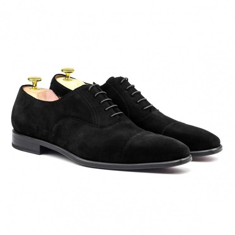 MANOR OF LONDON 'The Oxford' Black Suede Shoe Luxury Custom Initials Monogrammed Front Side View
