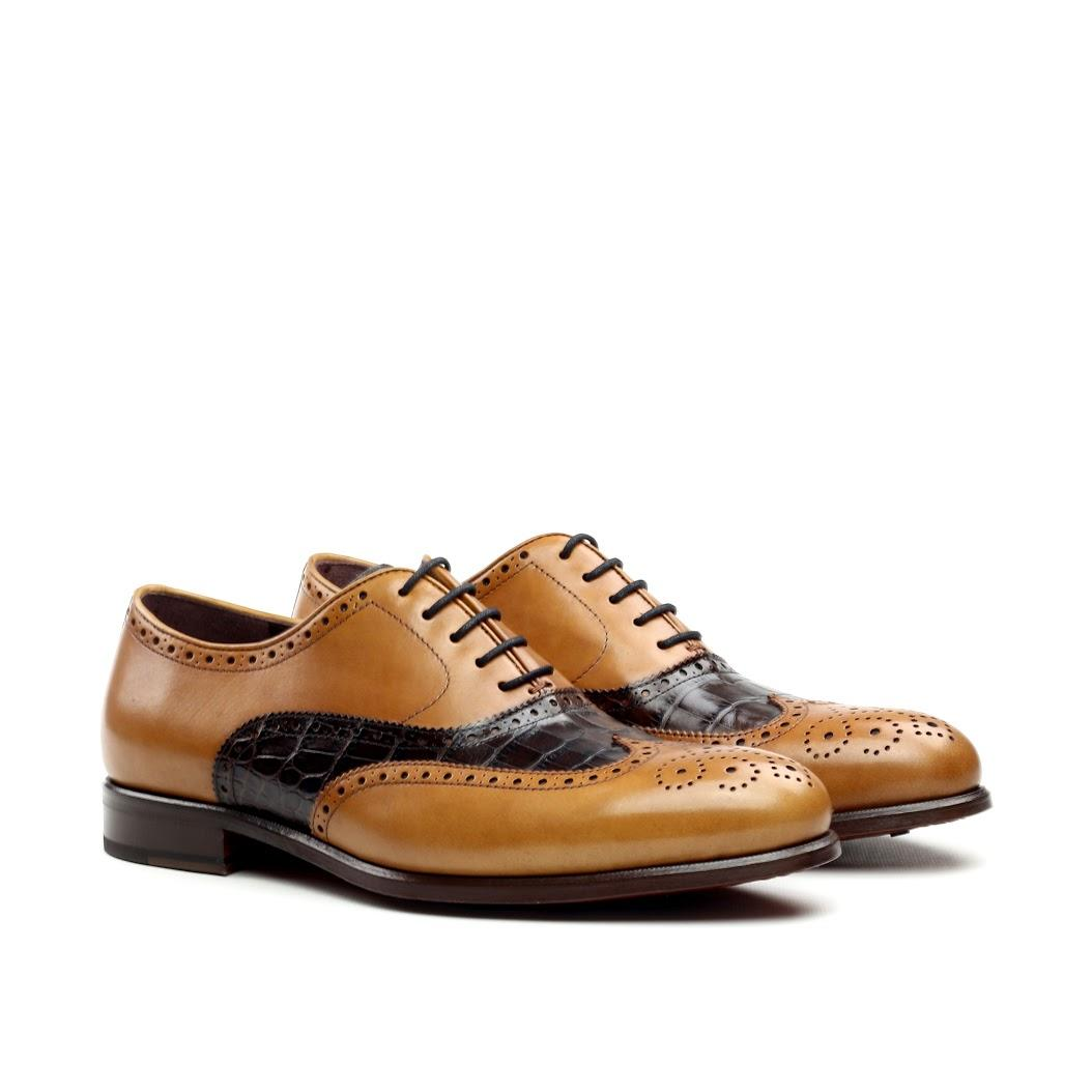 MANOR OF LONDON 'The Marylebone' Cognac Calfskin & Brown Croco Brogue Luxury Custom Initials Monogrammed Front Side View