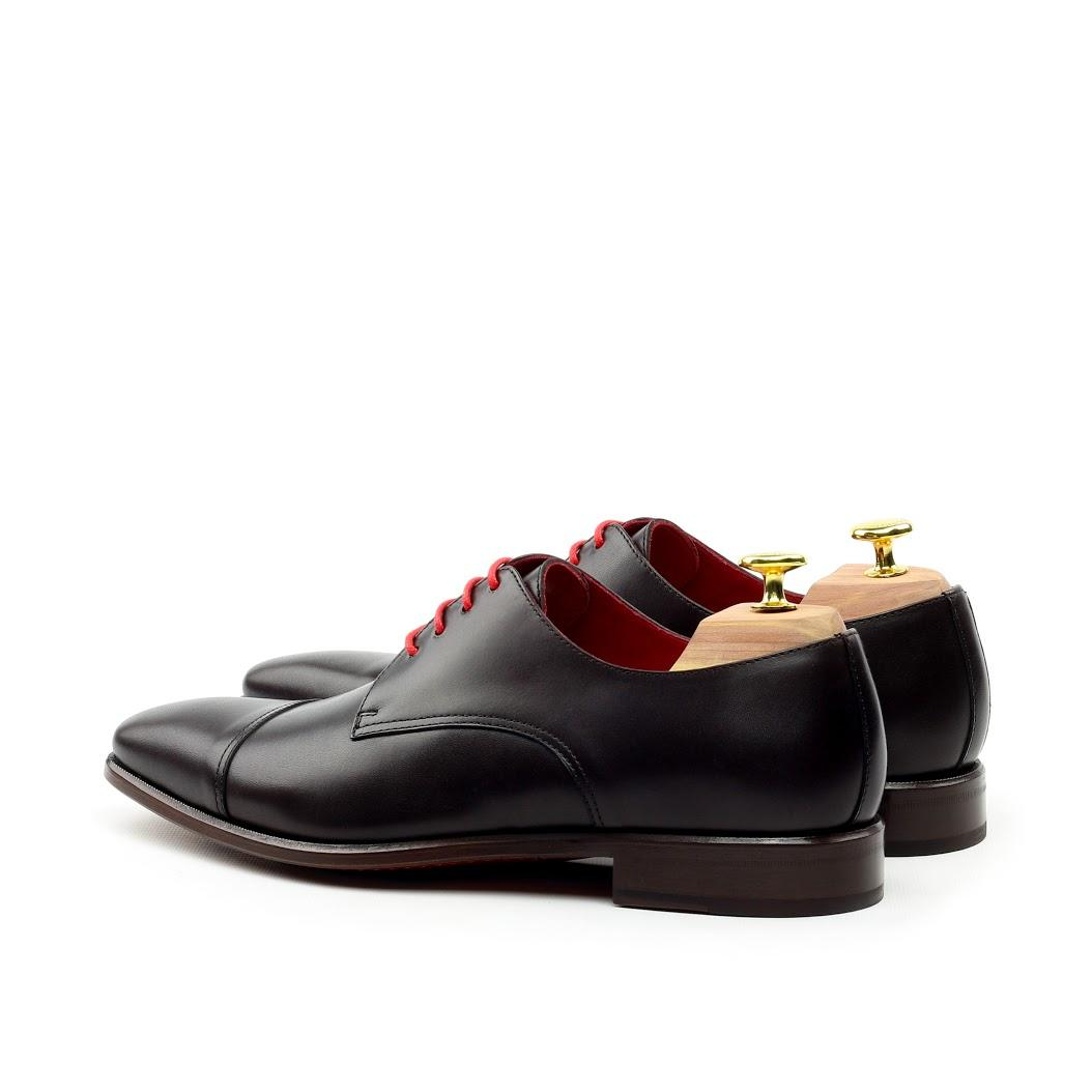 Manor of London 'The Derby' Black Calfskin Shoe Luxury Custom Initials Monogrammed Back Side View