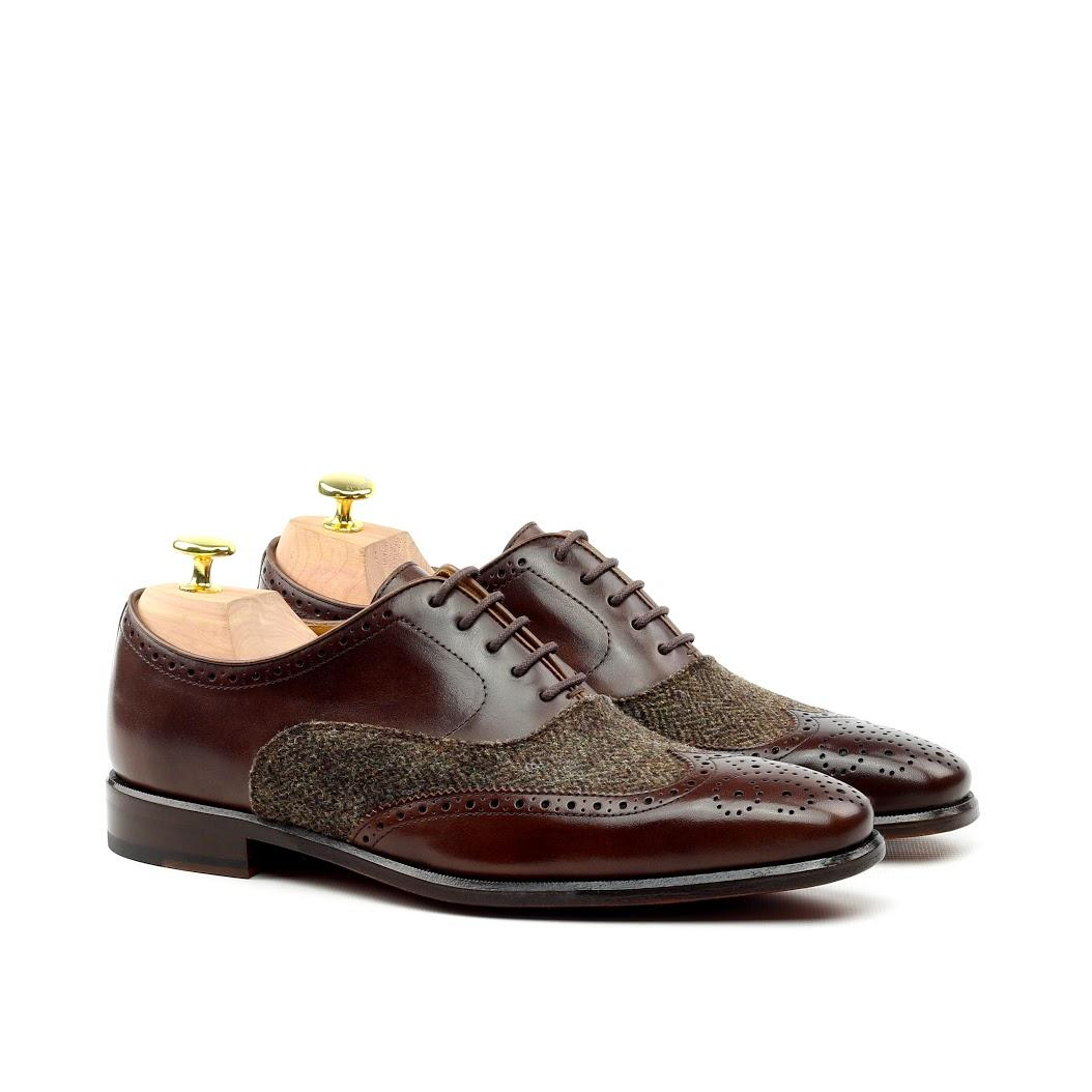 MANOR OF LONDON 'The Marylebone' Brown Calfskin & Herringbone Brogue Luxury Custom Initials Monogrammed Front Side View