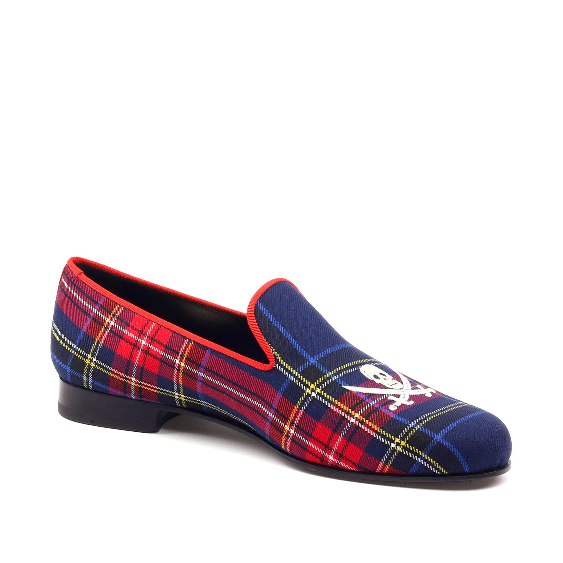 Manor of London 'Jolly Roger' Navy Mens Tartan Leather Luxury Slip On Slippers Inside View