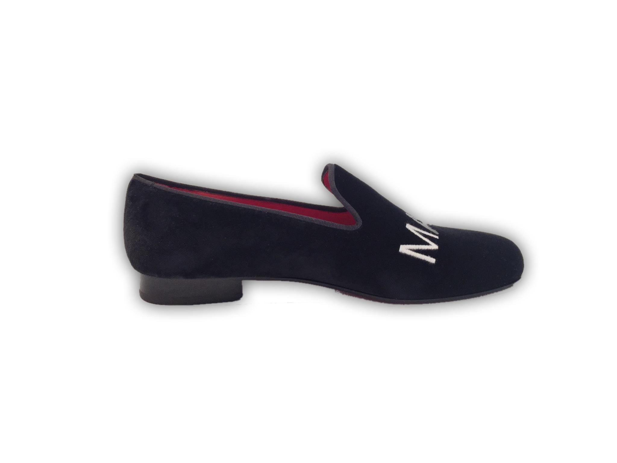 Manor of London SELF MADE Mens Black Velvet Leather Slip On Embroidery Luxury Custom Initials Slip On Side View