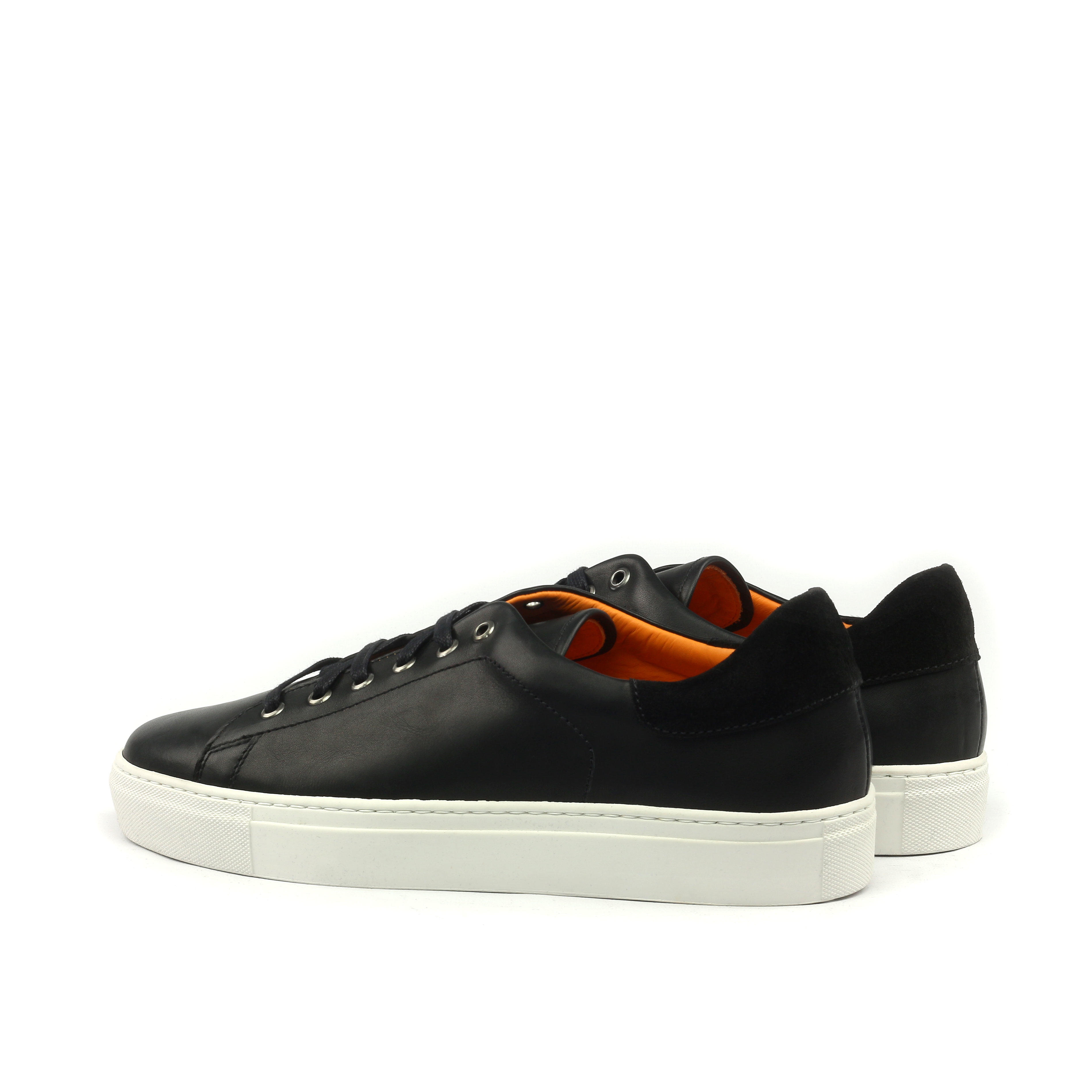MANOR OF LONDON'The Perry' Painted Black Calfskin Tennis Trainer Luxury Custom Initials Monogrammed Back Side View