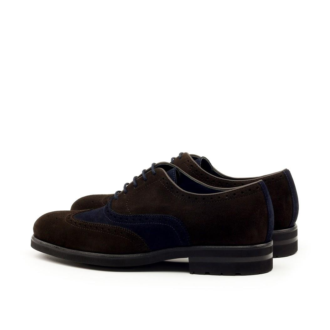MANOR OF LONDON 'The Marylebone' Brown & Navy Suede Command Brogue Luxury Custom Initials Monogrammed Back Side View
