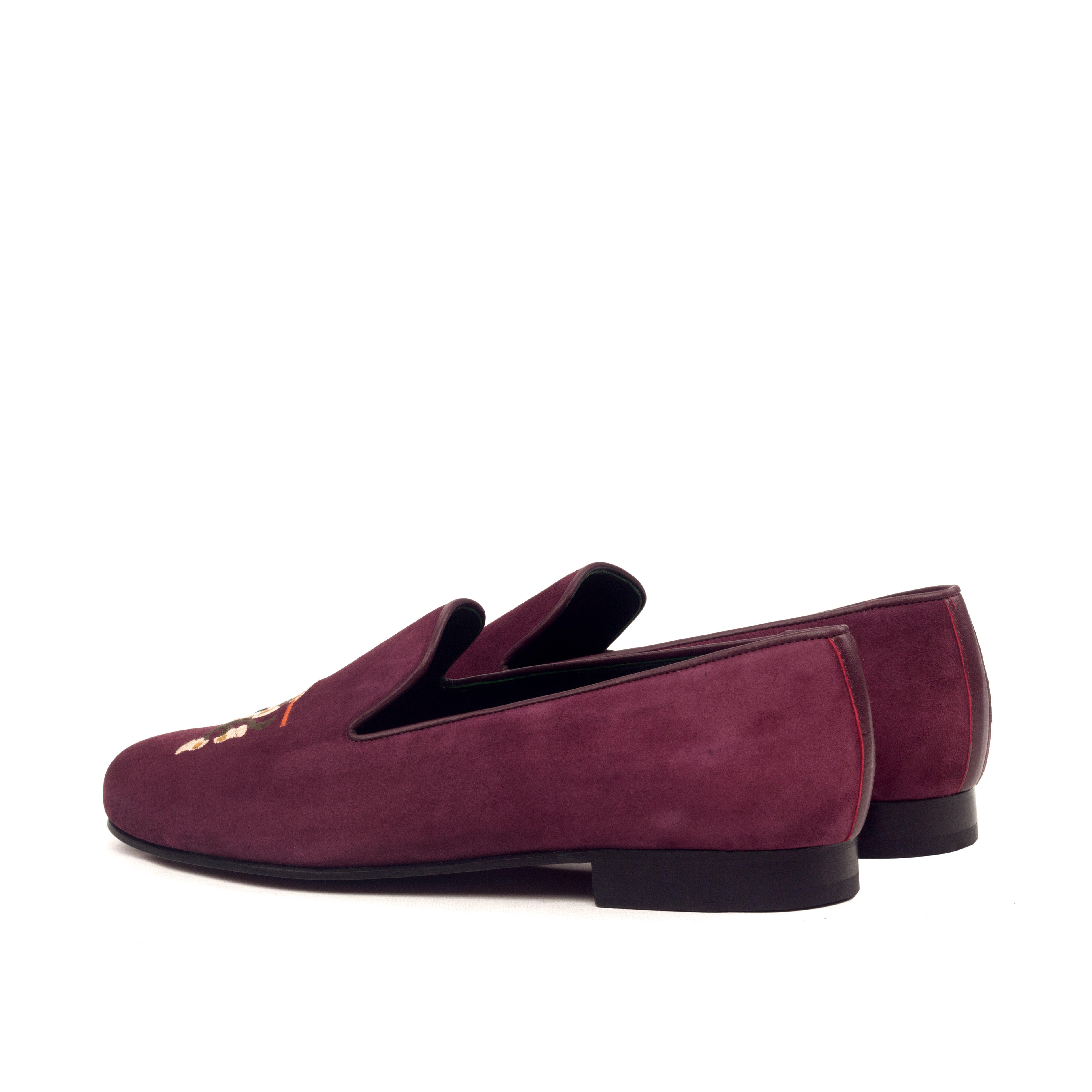 Manor of London 'Monkeying Around' Wine  Suede Leather Luxury Slip On Slippers Back Side View