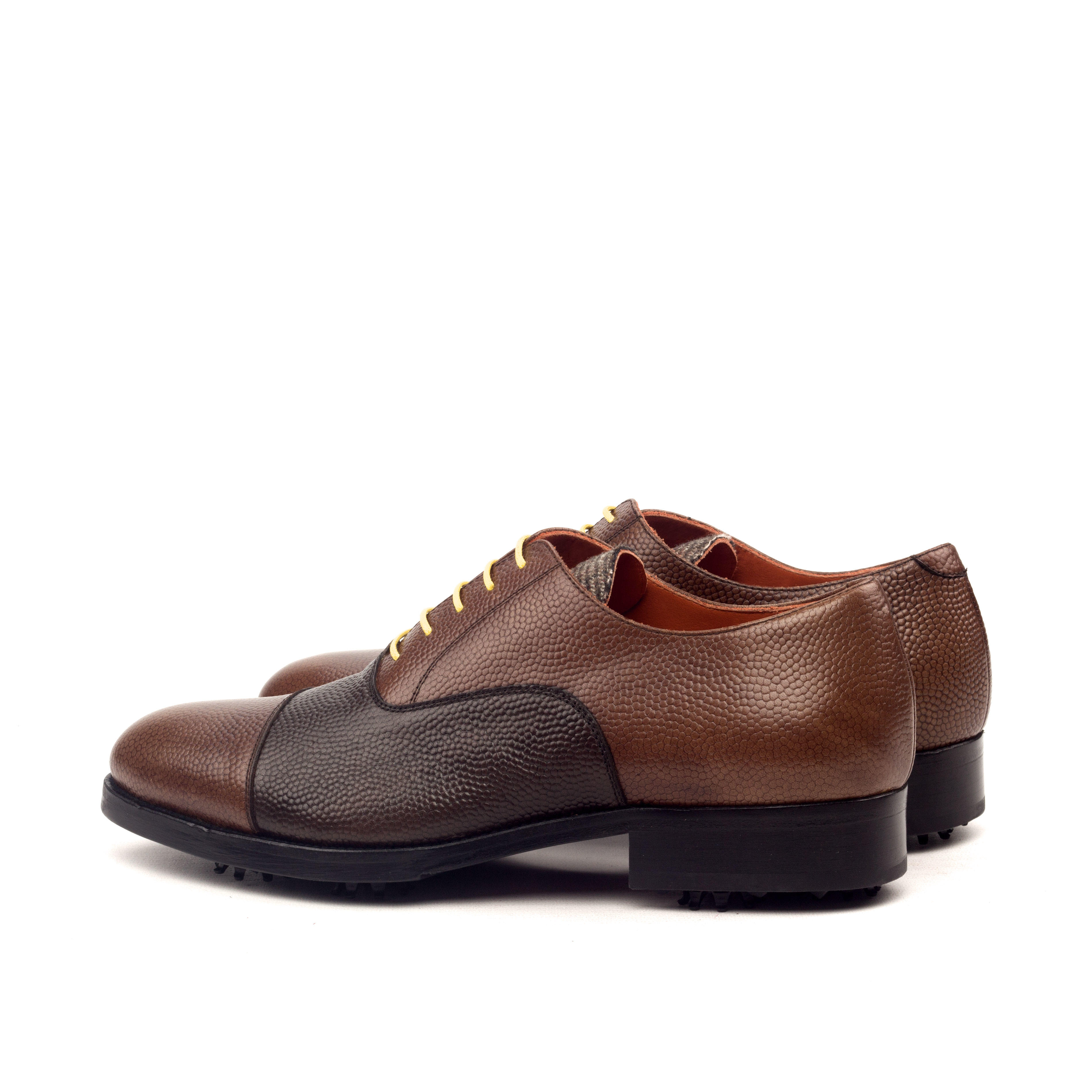 MANOR OF LONDON 'The Oxford' Two Tone Brown Pebble Grain Golfing Shoe Luxury Custom Initials Monogrammed Back Side View