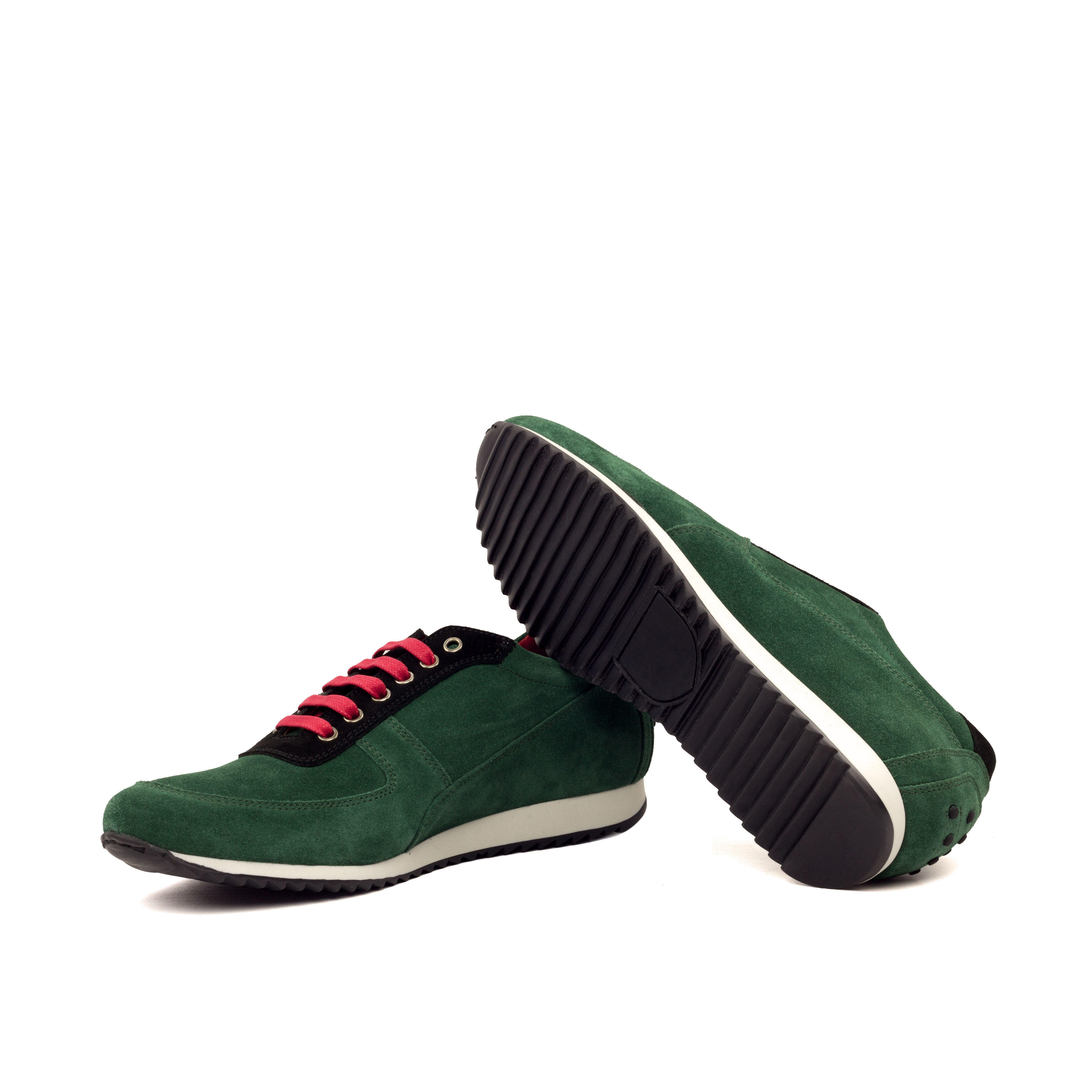 MANOR OF LONDON 'The Runner' Green & Black Suede Trainer Luxury Custom Initials Monogrammed Bottom Side View