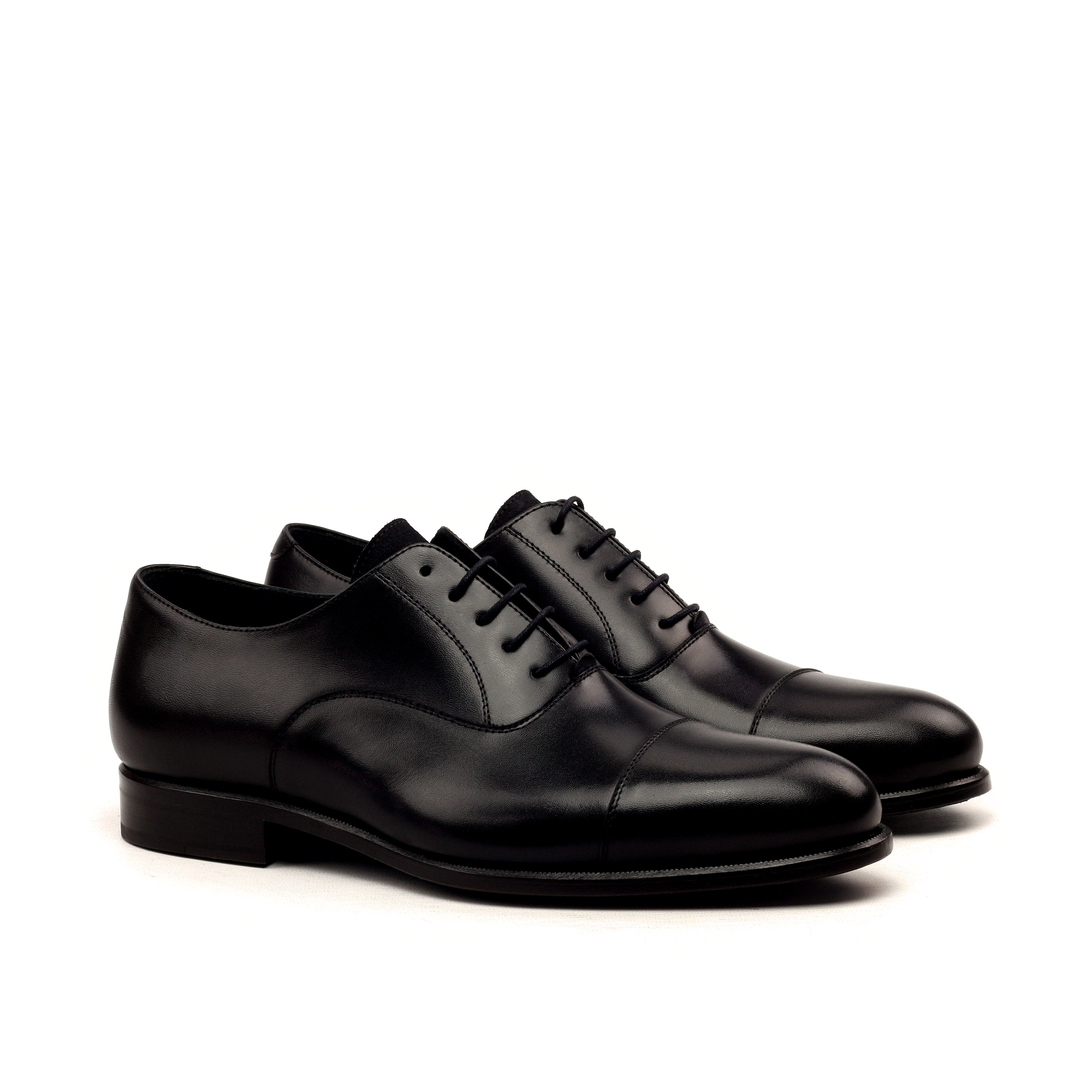 MANOR OF LONDON 'The Oxford' Black Calfskin Shoe Luxury Custom Initials Monogrammed Front Side View