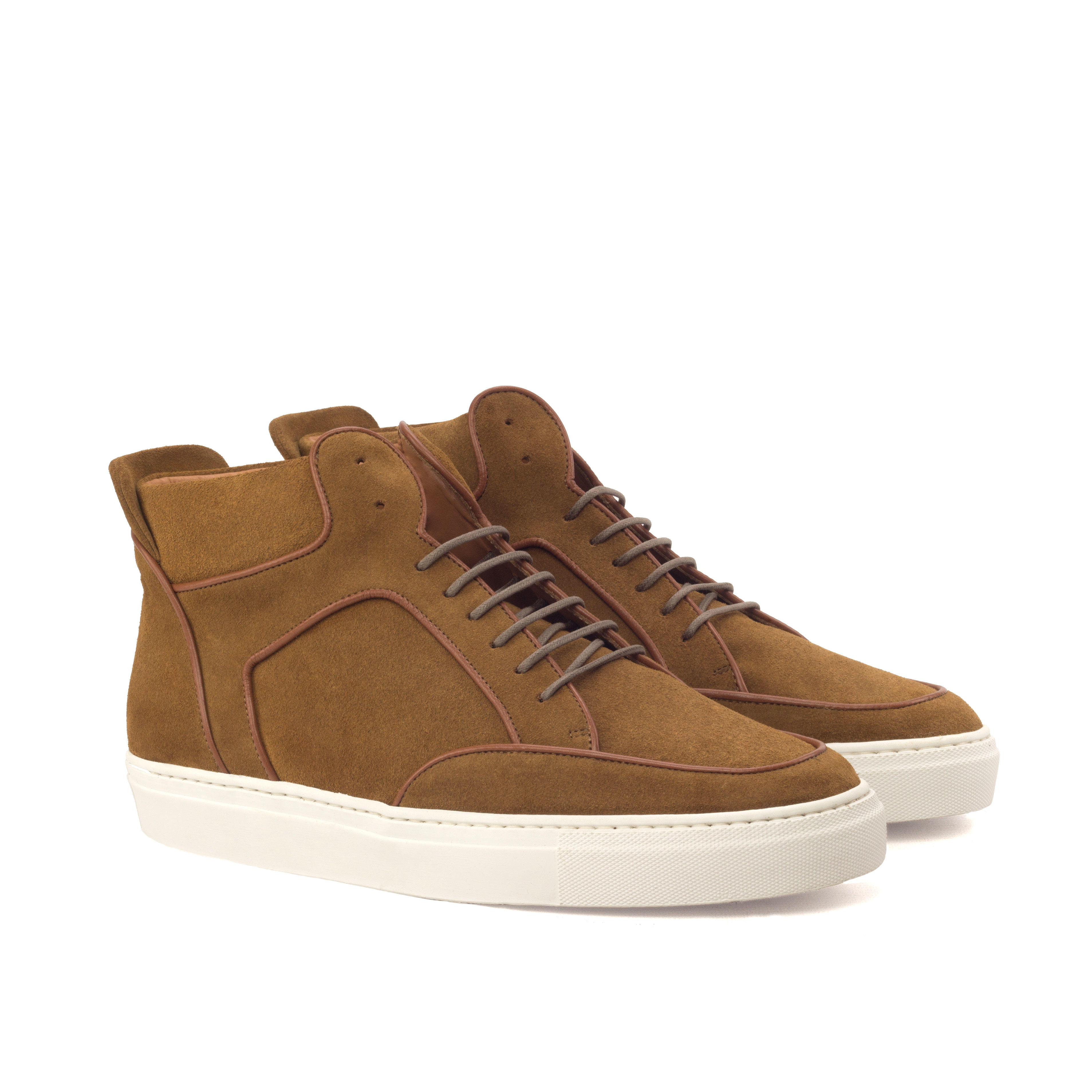 Manor of London 'The Hamilton' Camel Suede High-Top Trainer Luxury Custom Initials Monogrammed Front Side View